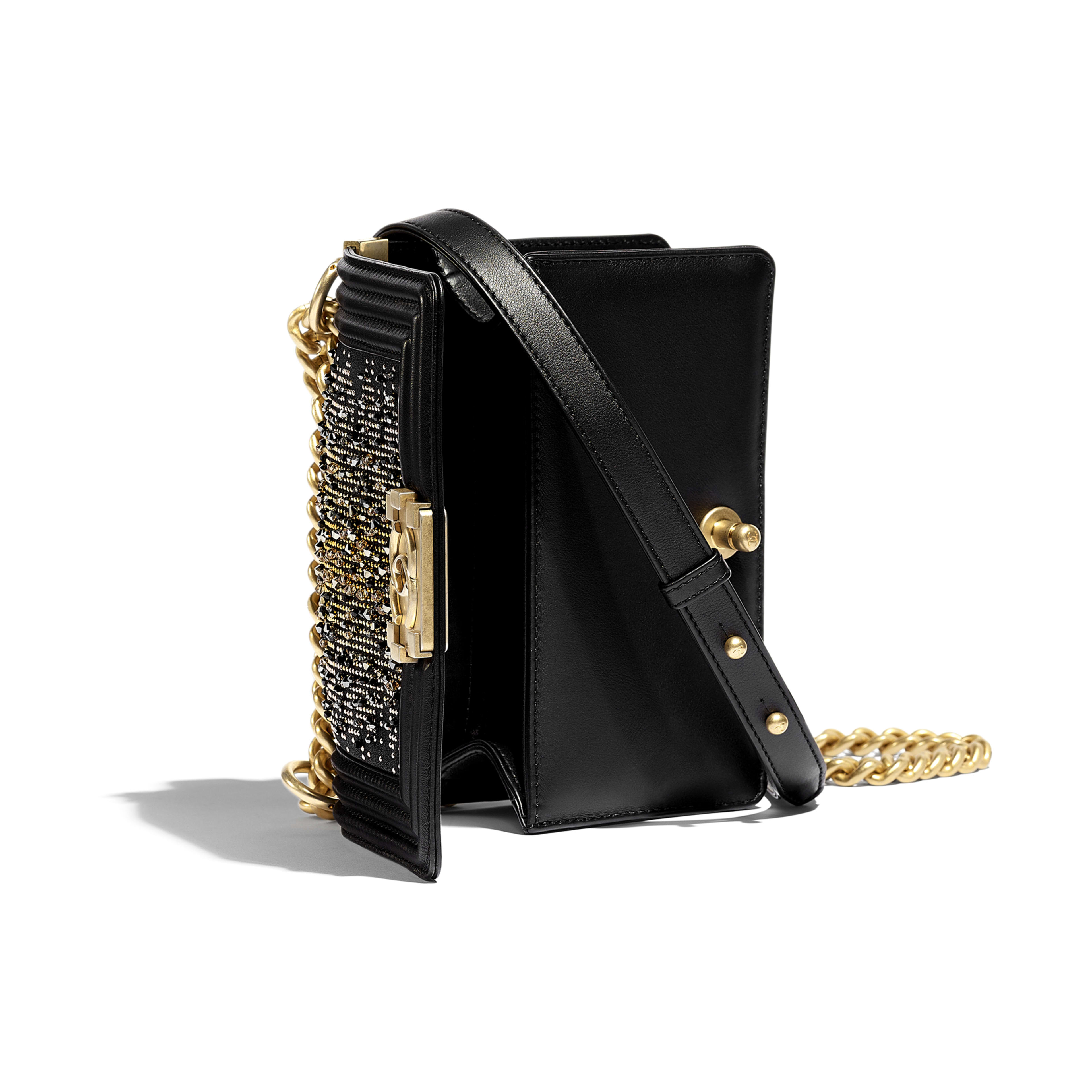Small BOY CHANEL Handbag - Black - Calfskin, Strass & Gold-Tone Metal - Other view - see full sized version