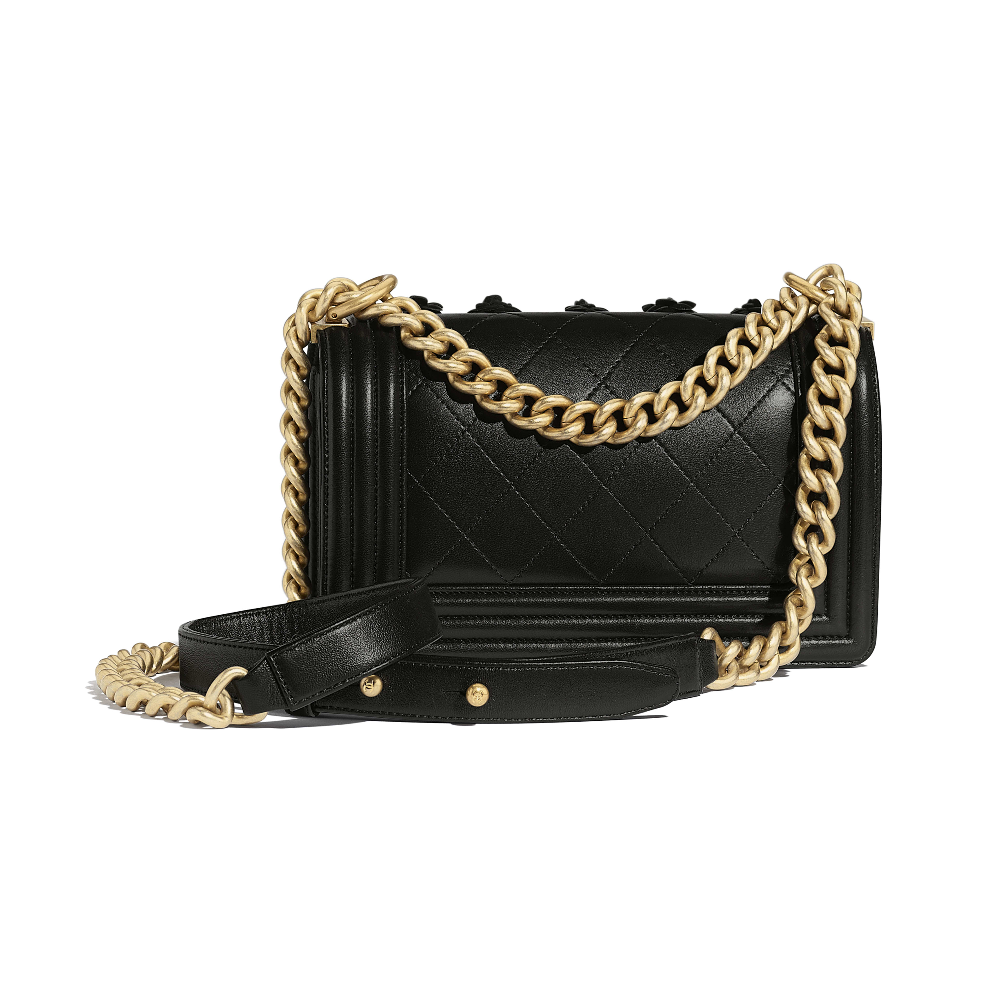 Small BOY CHANEL Handbag - Black - Embroidered Lambskin & Gold-Tone Metal - Alternative view - see full sized version