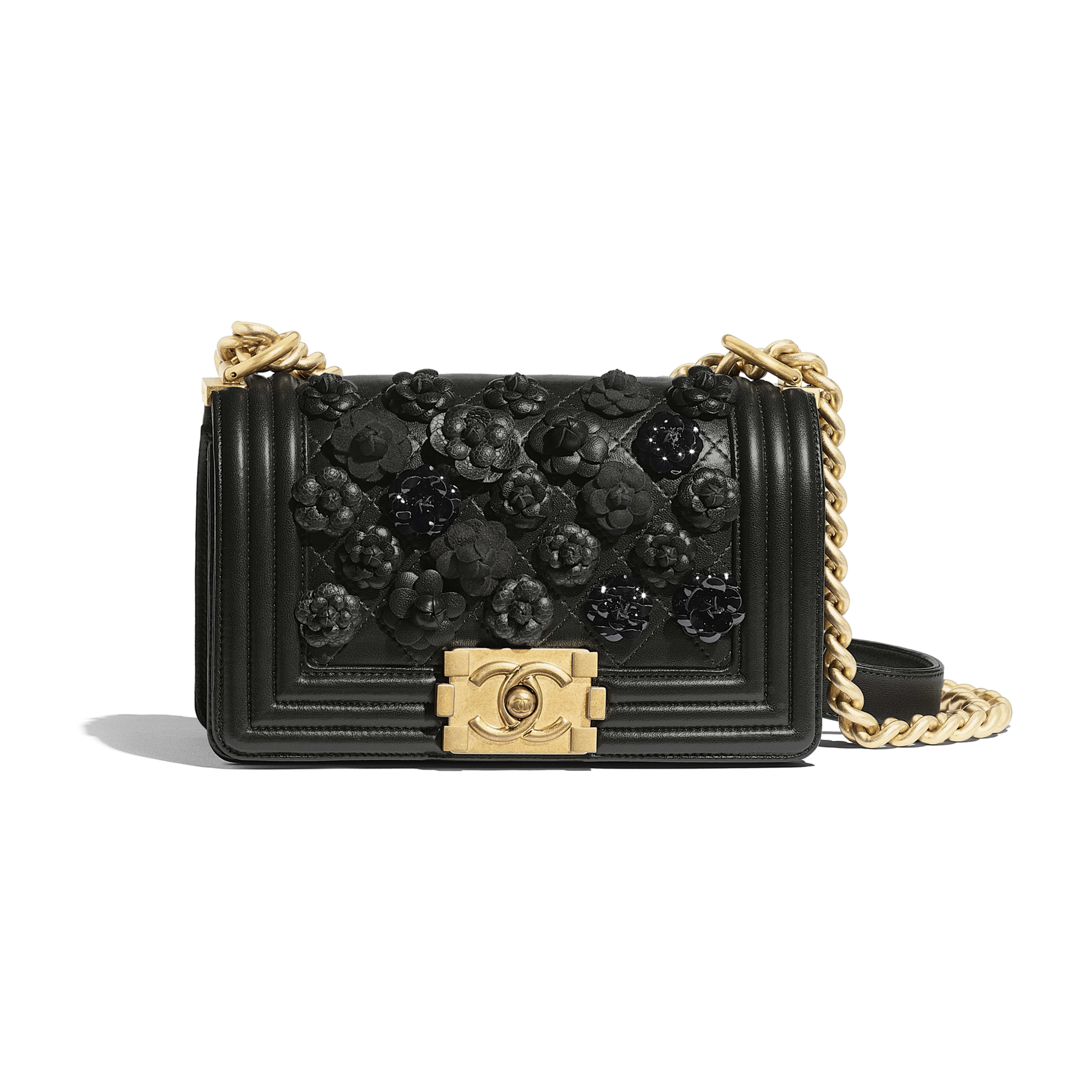 Small BOY CHANEL Handbag - Black - Embroidered Lambskin & Gold-Tone Metal - Default view - see full sized version