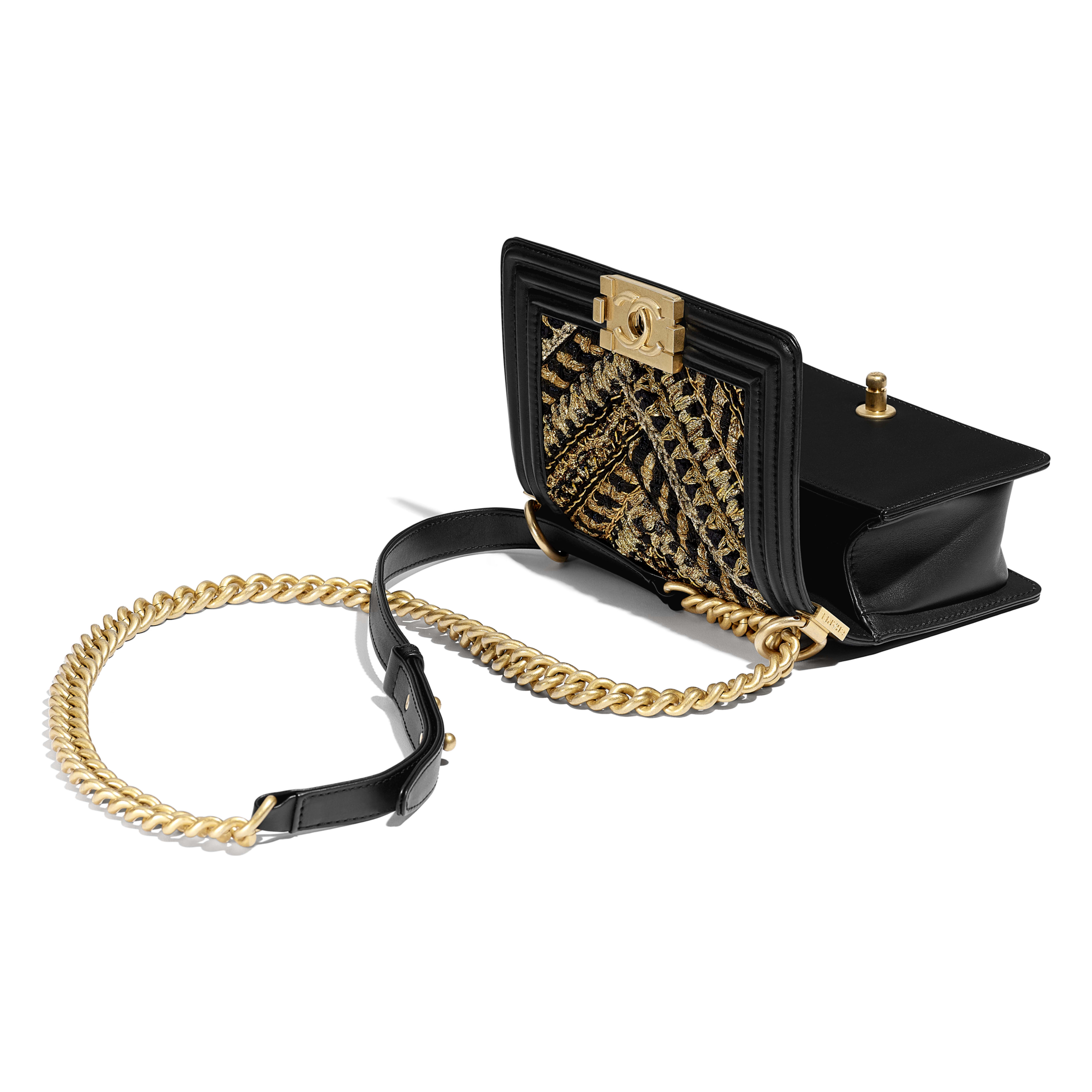Small BOY CHANEL Handbag - Black & Gold - Calfskin, Cotton & Gold-Tone Metal - Other view - see full sized version