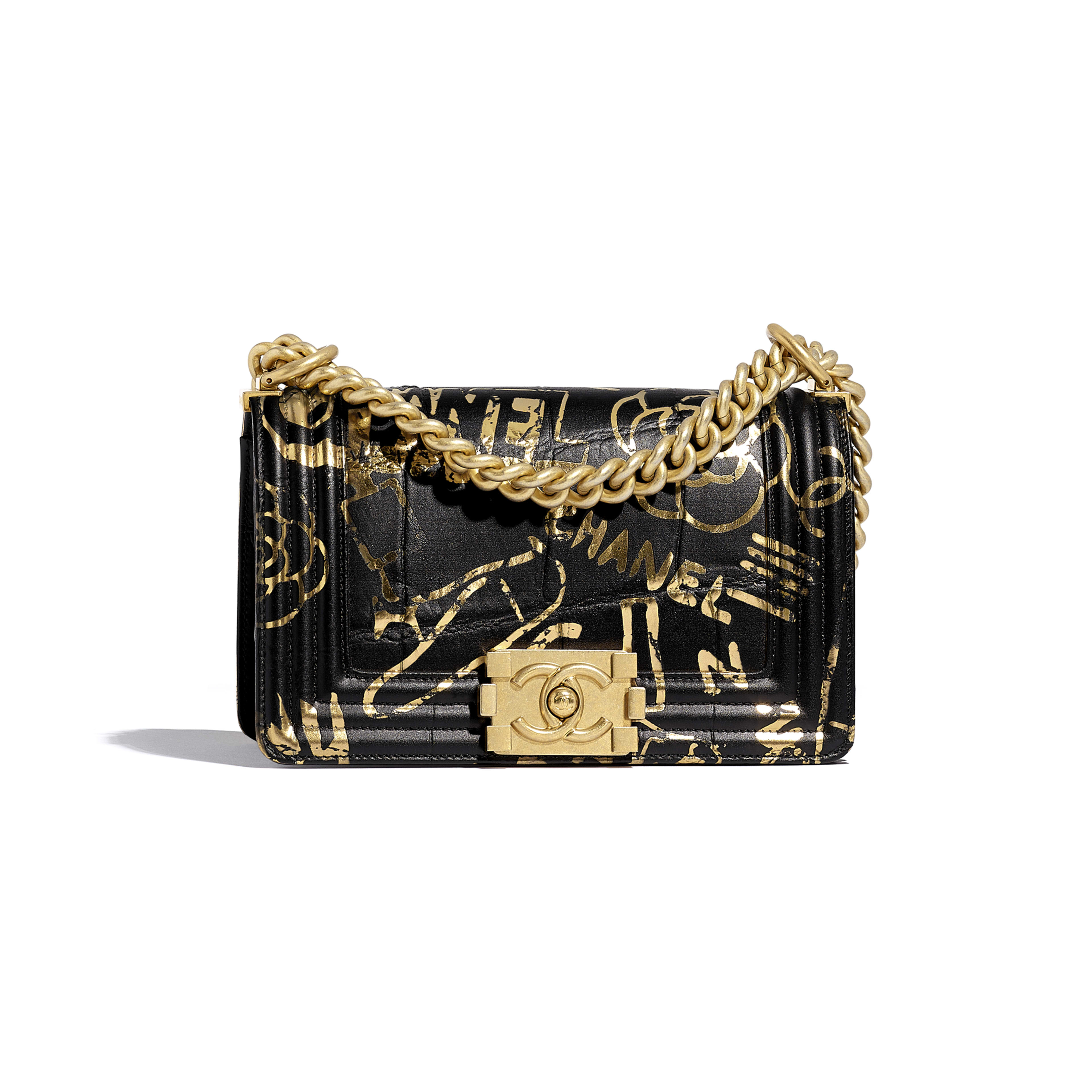 Small BOY CHANEL Handbag - Black & Gold - Crocodile Embossed Printed Leather & Gold-Tone Metal - Default view - see full sized version