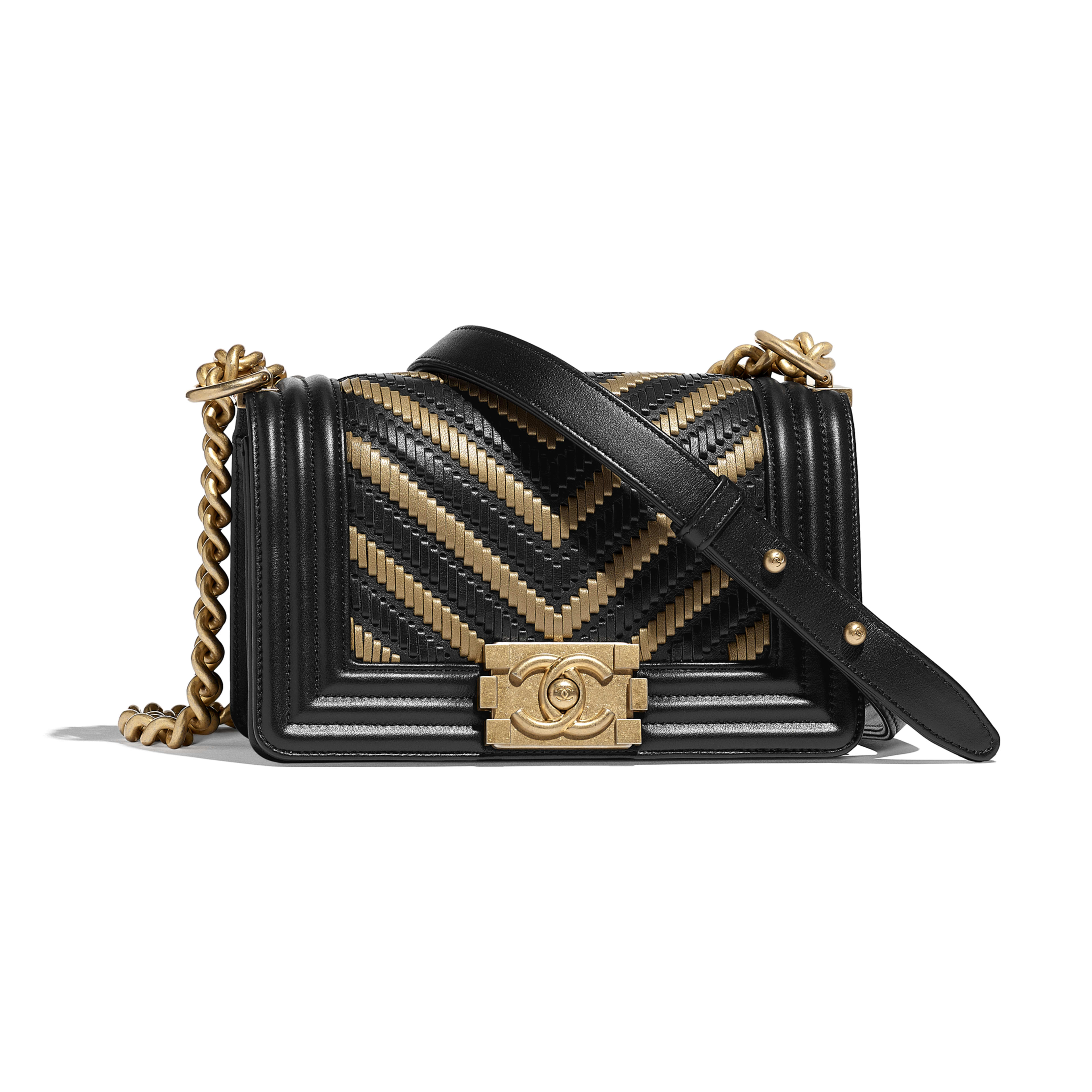 Small BOY CHANEL Handbag - Black & Gold - Metallic Lambskin, Calfskin & Gold-Tone Metal - Default view - see full sized version