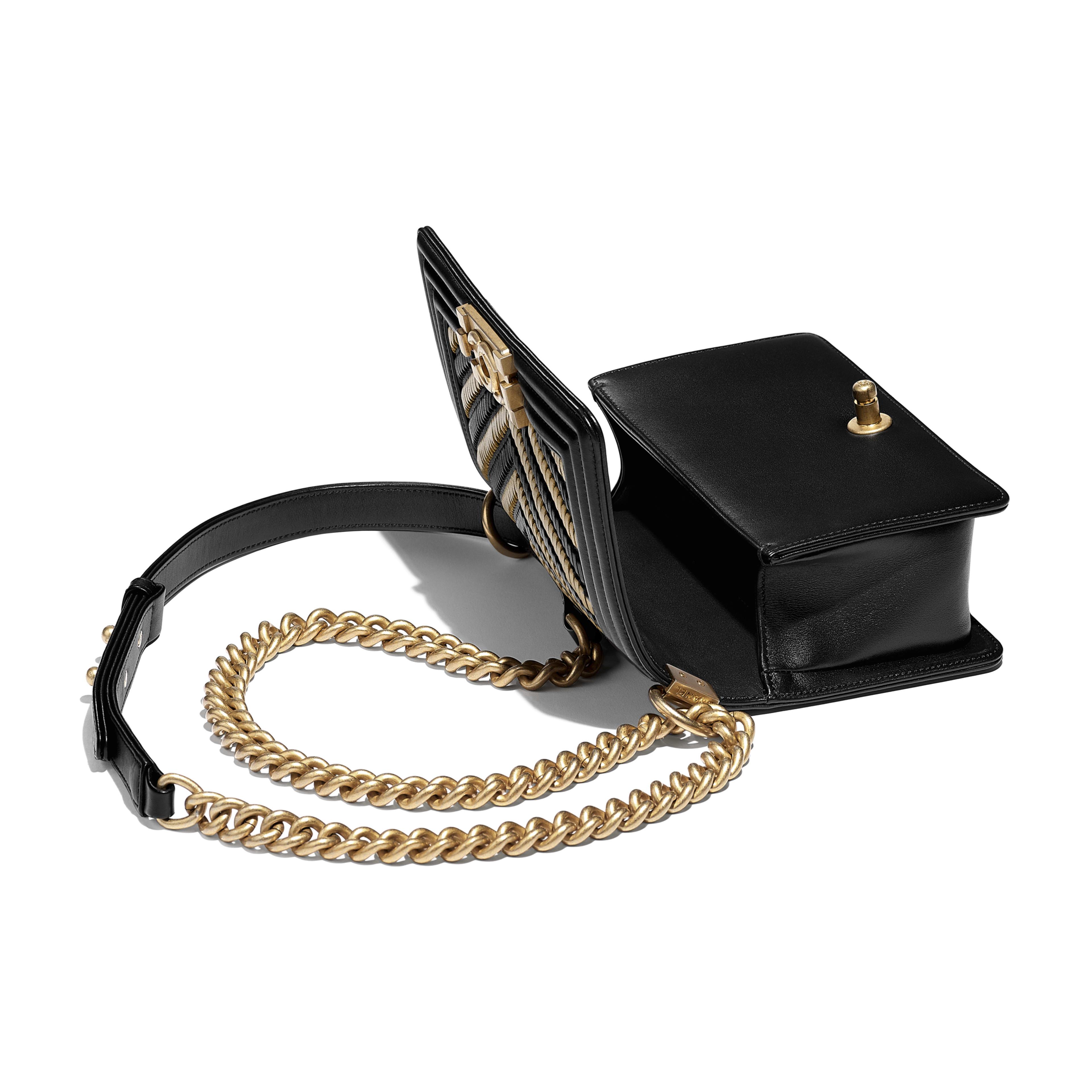 Small BOY CHANEL Handbag - Black & Gold - Metallic Lambskin, Calfskin & Gold-Tone Metal - Other view - see full sized version