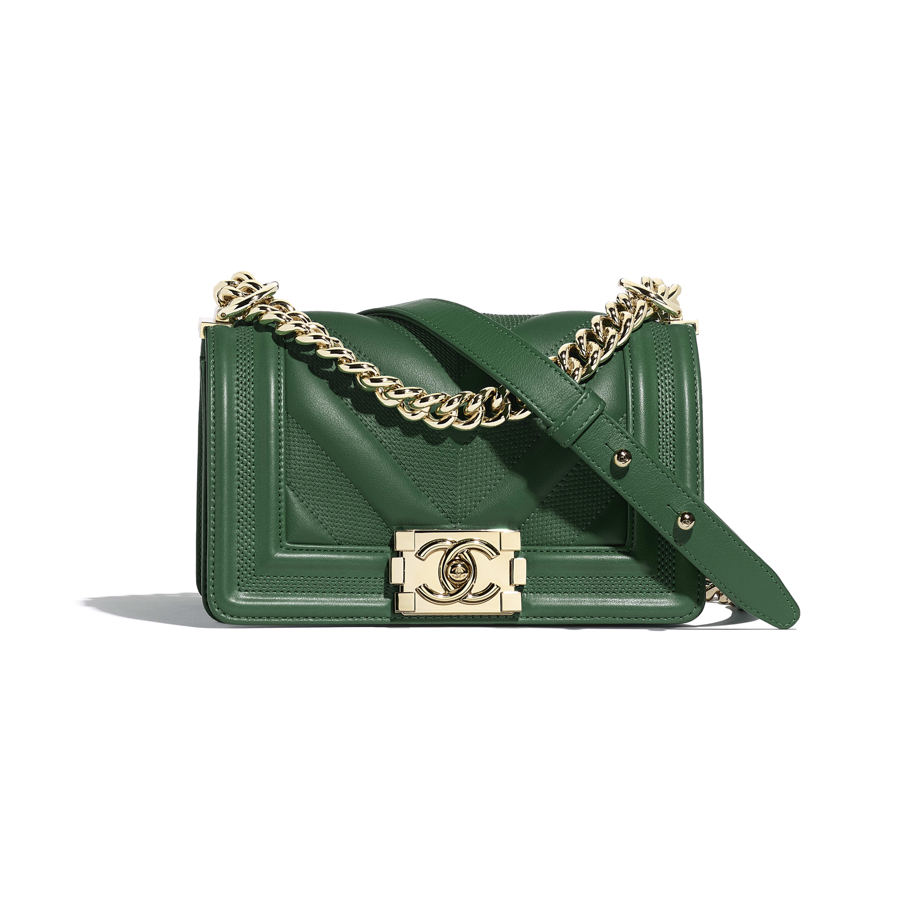 Small BOY CHANEL Handbag - Green - Calfskin & Gold-Tone Metal - Default view - see full sized version