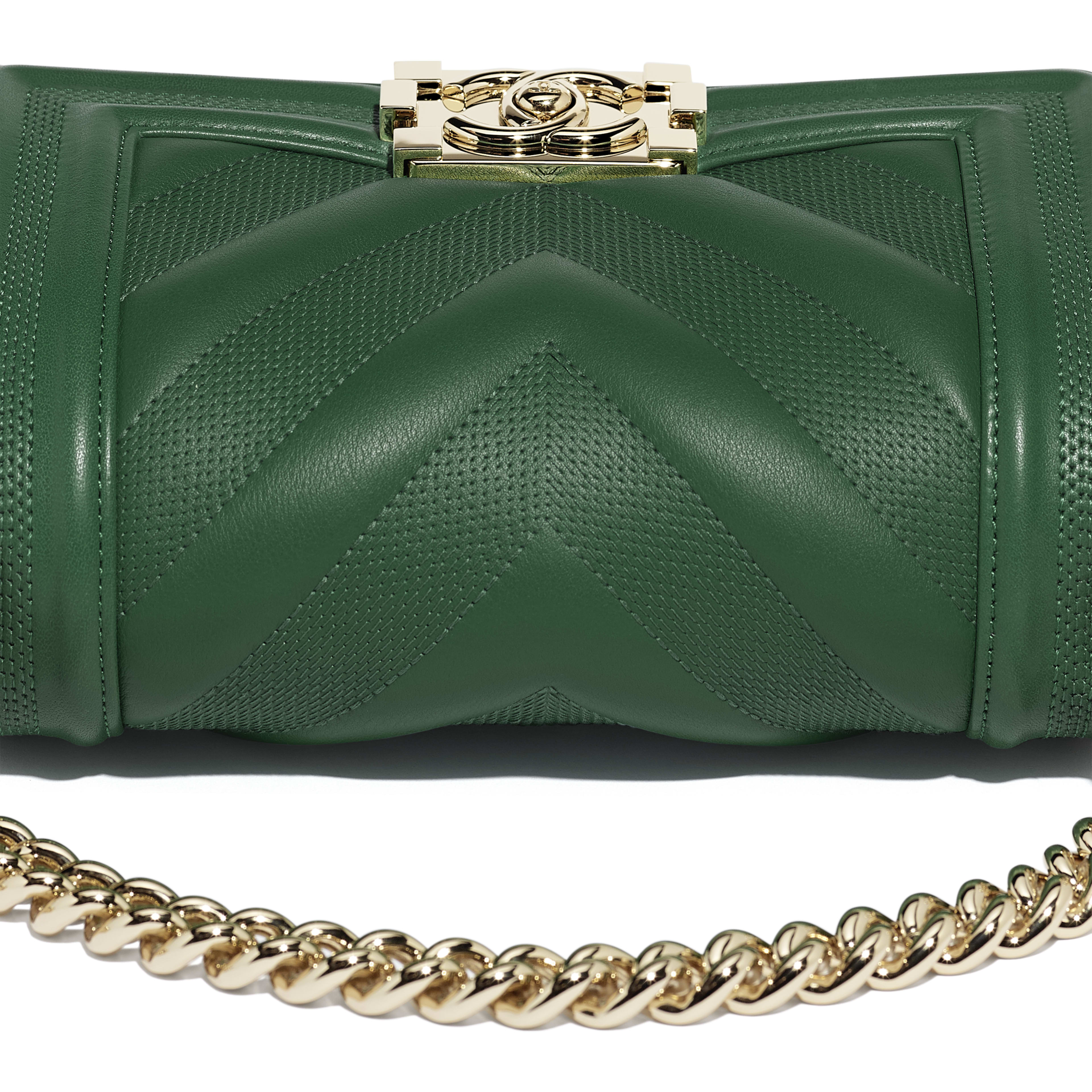 Small BOY CHANEL Handbag - Green - Calfskin & Gold-Tone Metal - Extra view - see full sized version