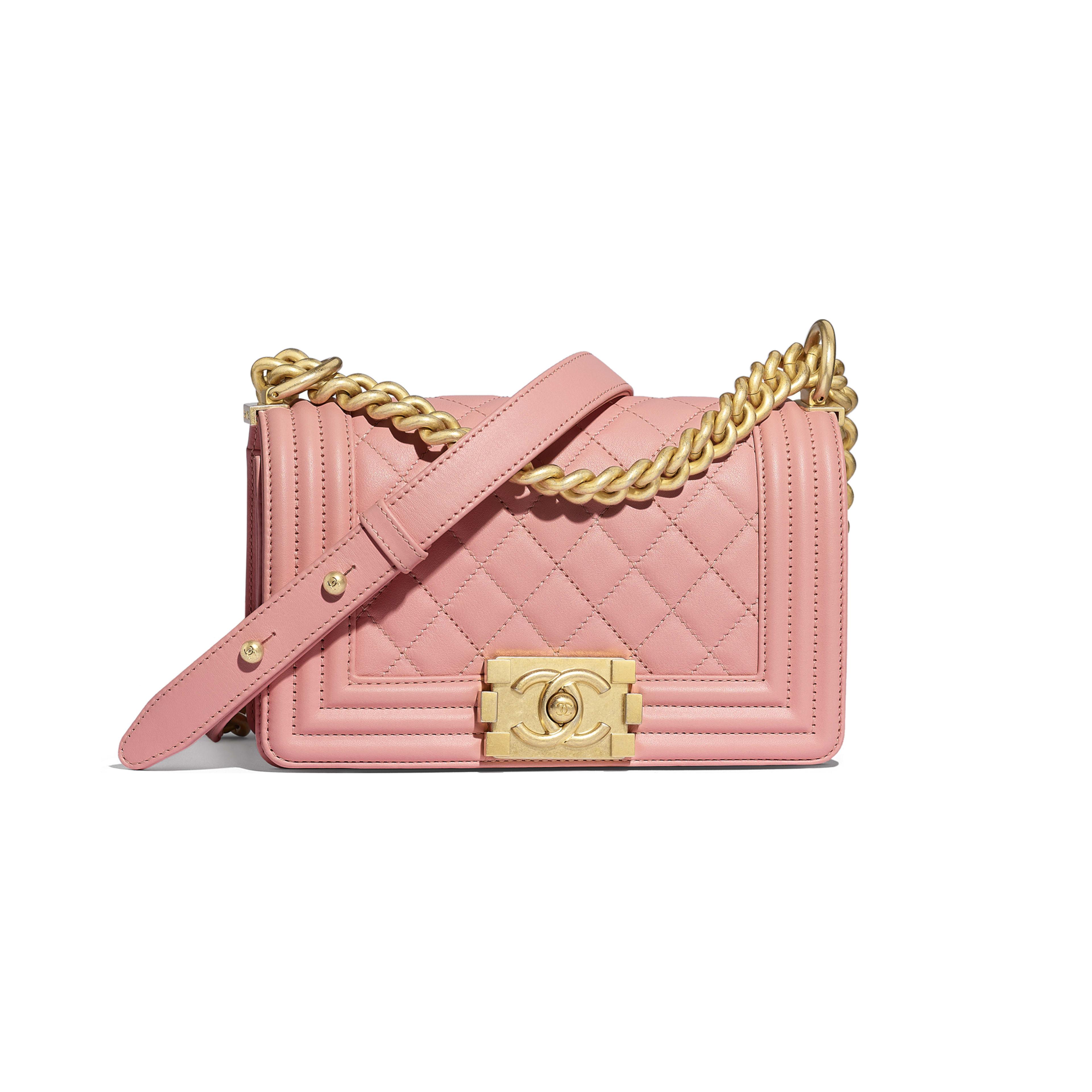 Small BOY CHANEL Handbag - Pink - Calfskin & Gold-Tone Metal - Default view - see full sized version