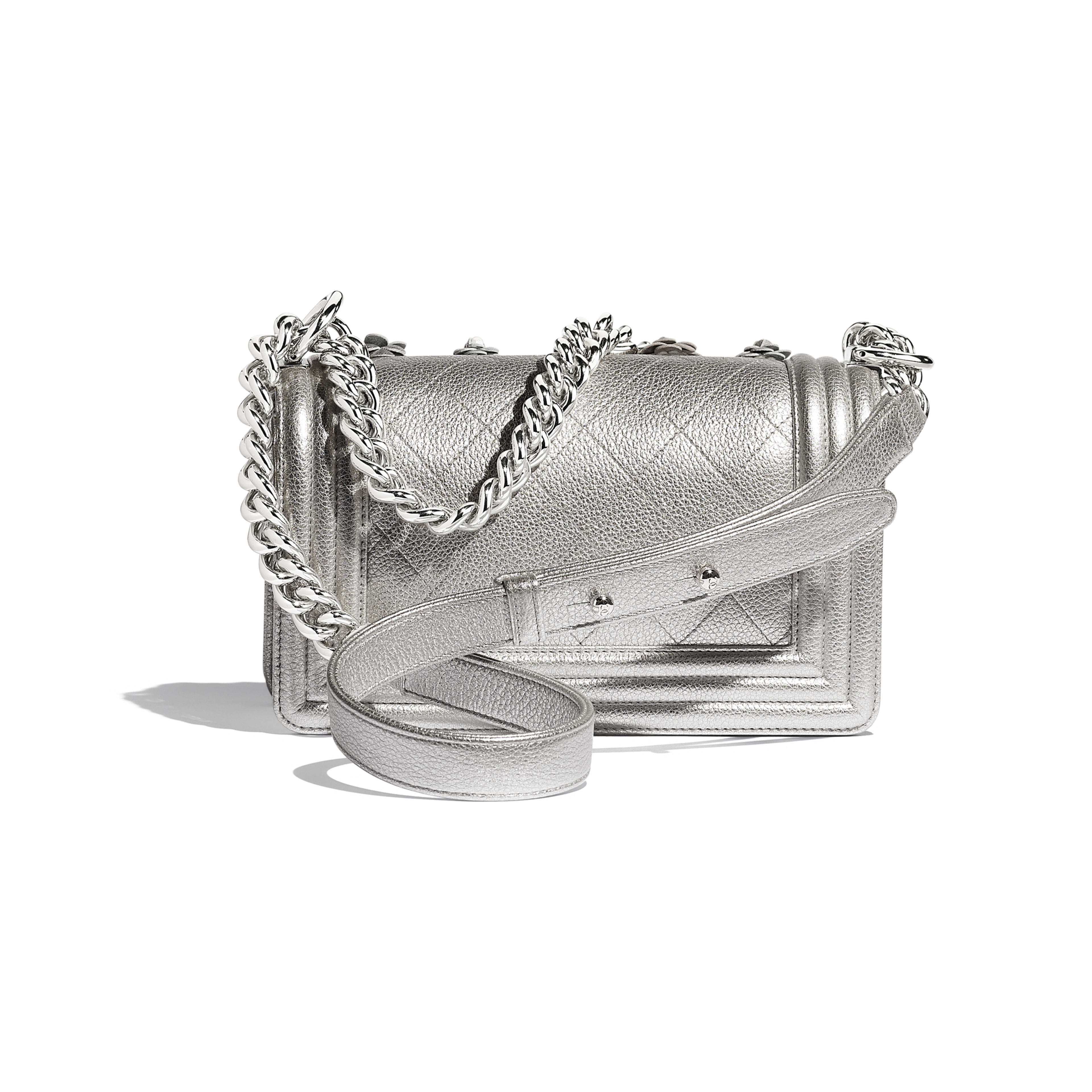 Small BOY CHANEL Handbag - Silver - Embroidered Metallic Grained Calfskin & Silver-Tone Metal - Alternative view - see full sized version