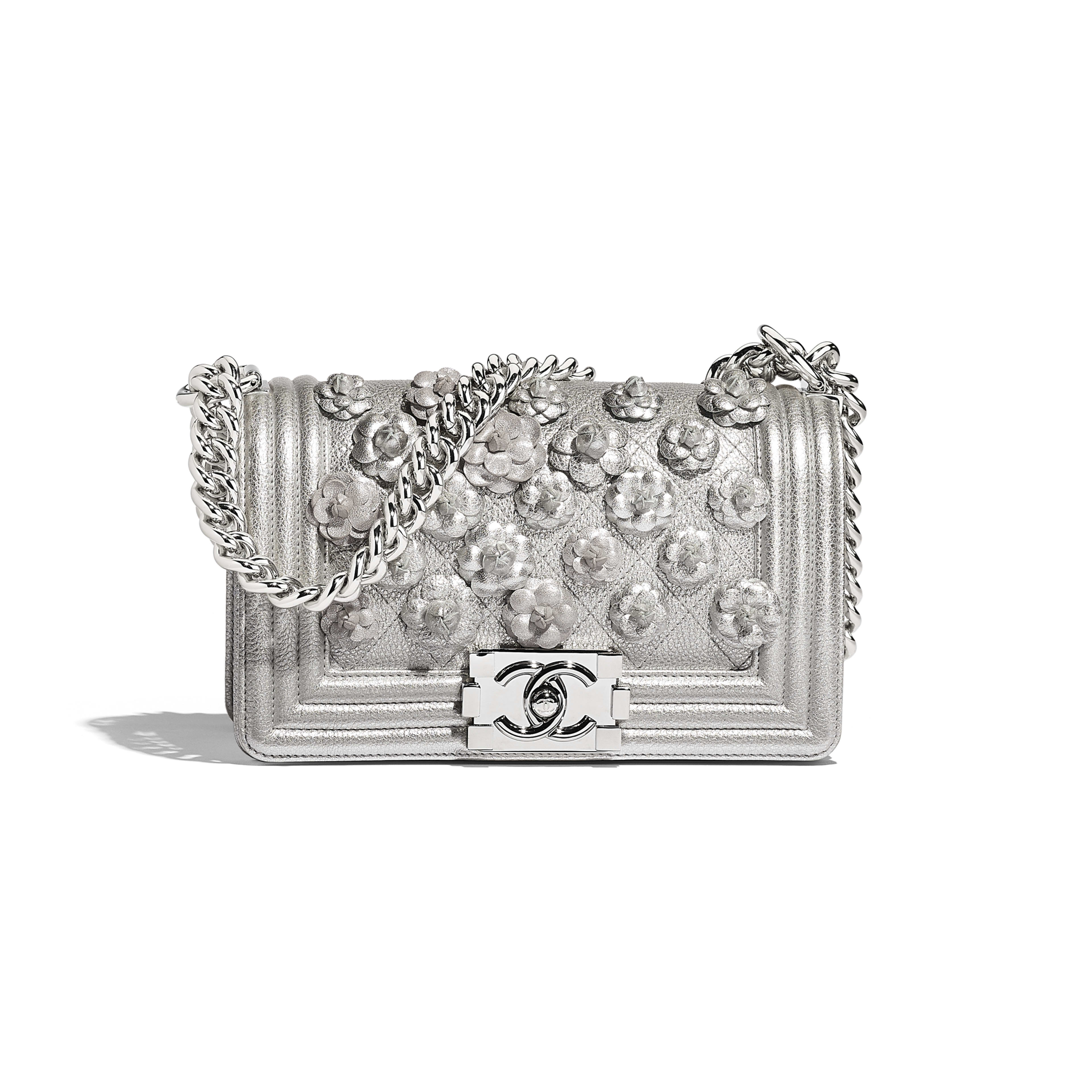 Small BOY CHANEL Handbag - Silver - Embroidered Metallic Grained Calfskin & Silver-Tone Metal - Default view - see full sized version