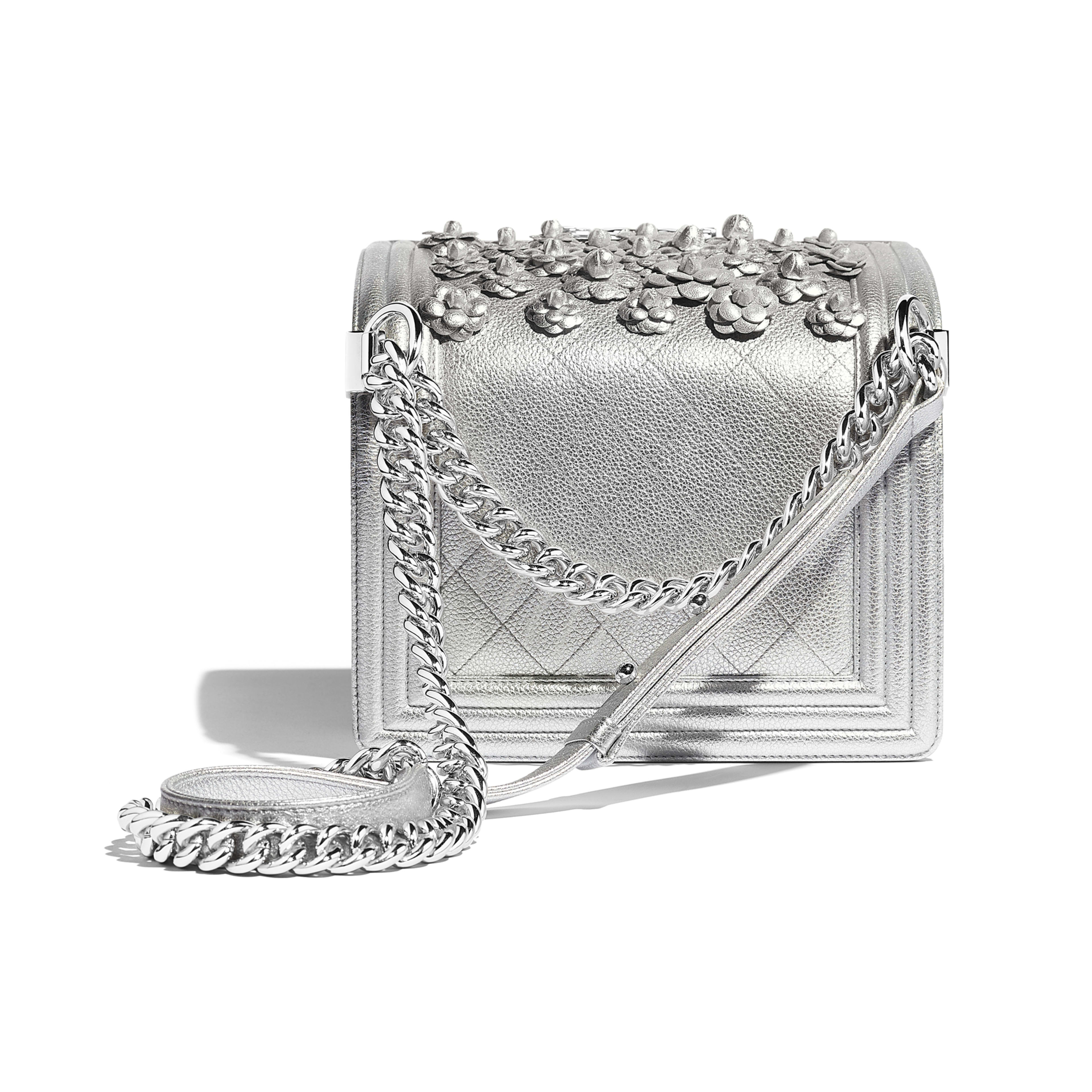 Small BOY CHANEL Handbag - Silver - Embroidered Metallic Grained Calfskin & Silver-Tone Metal - Other view - see full sized version