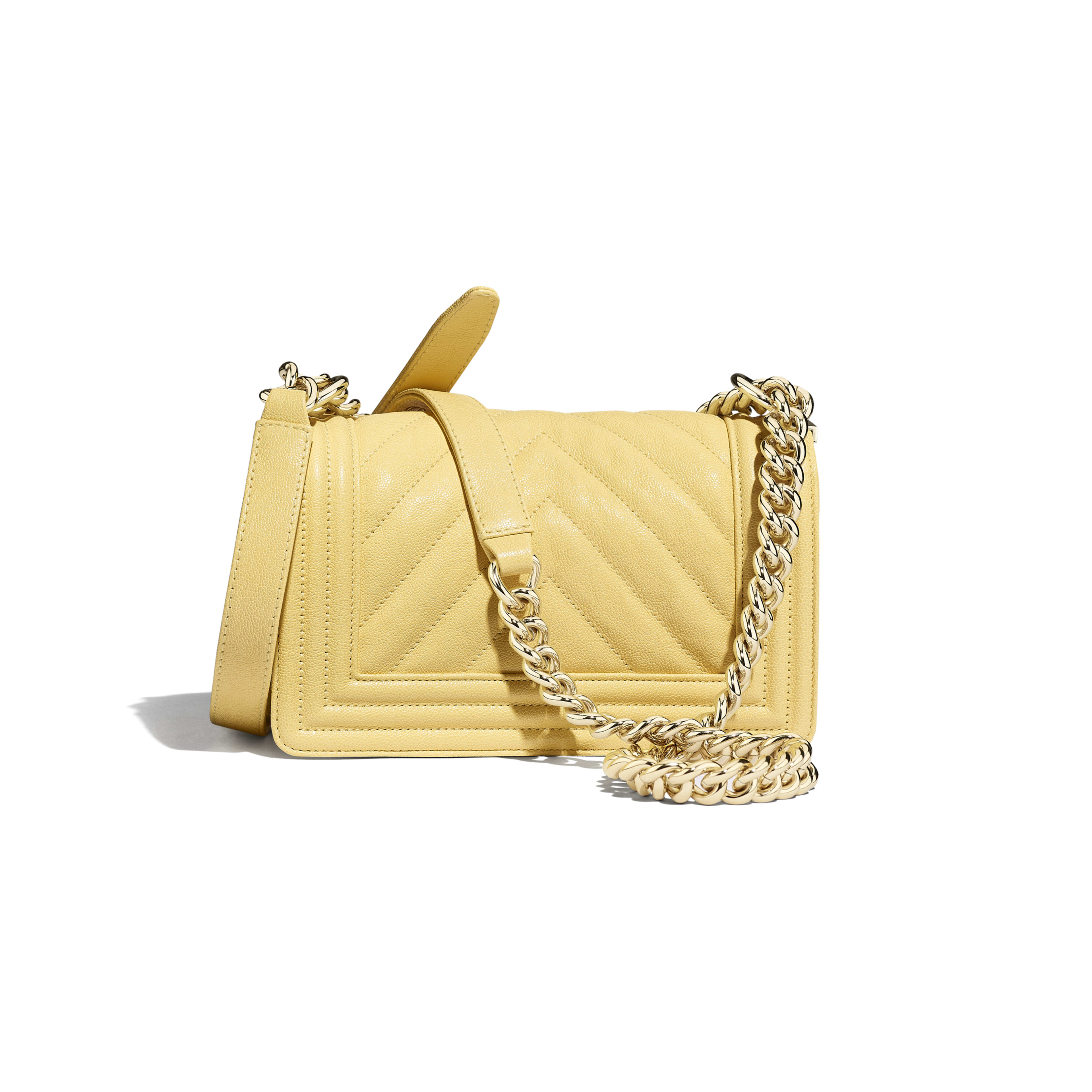 Small BOY CHANEL Handbag - Yellow - Grained Calfskin & Gold-Tone Metal - Alternative view - see full sized version