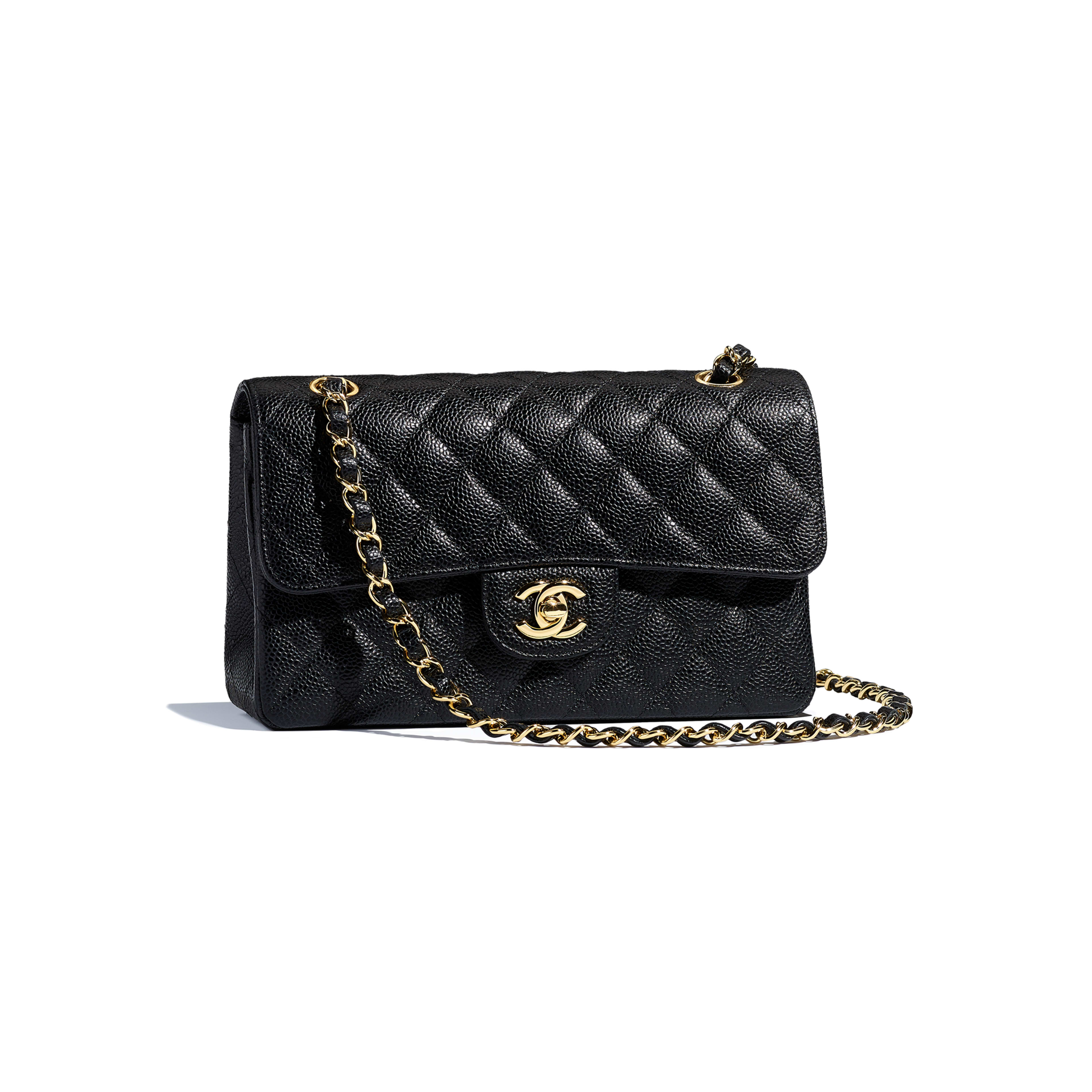 Grained Calfskin Gold Tone Metal Black Small Classic Handbag Chanel