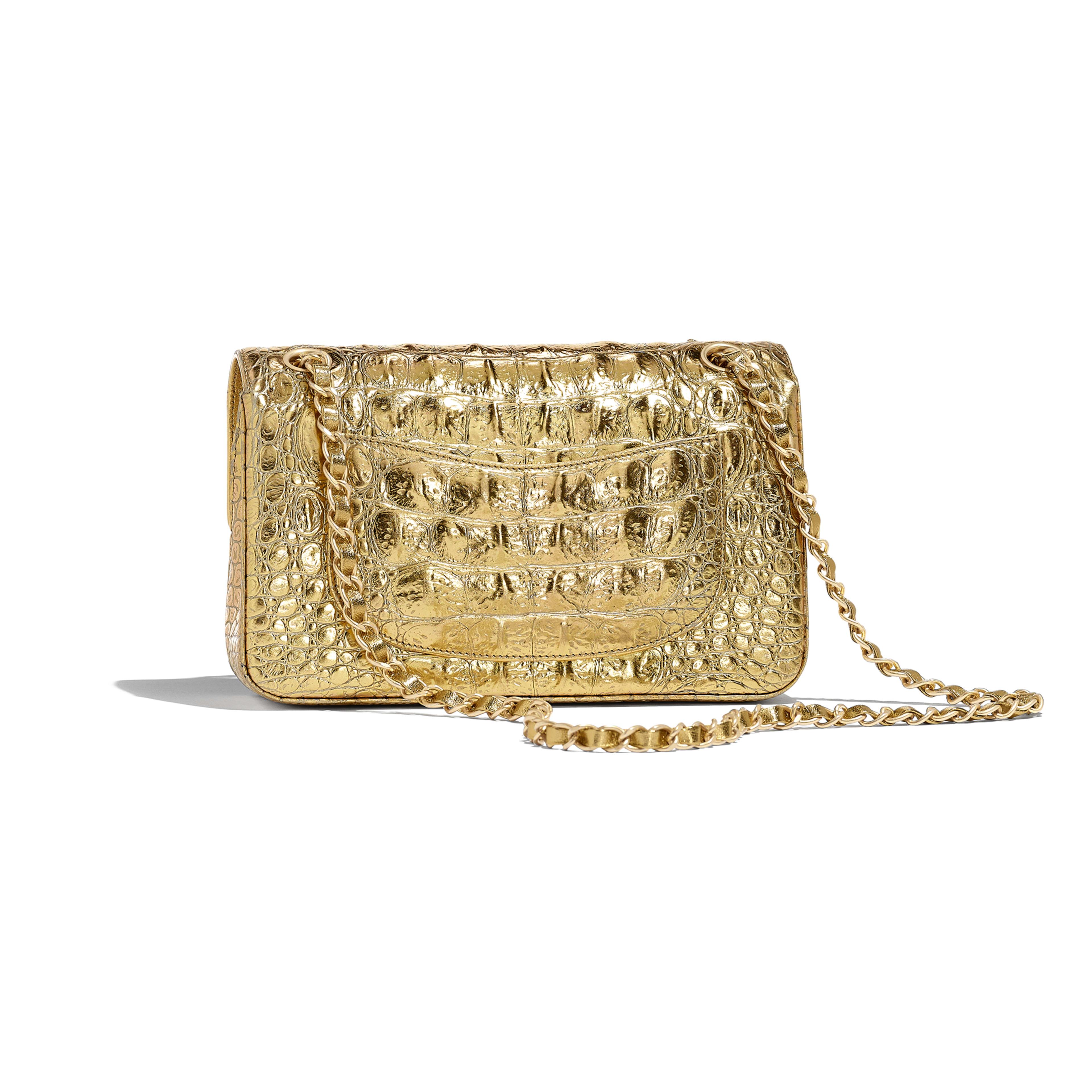 Small Classic Handbag - Gold - Metallic Crocodile Embossed Calfskin & Gold Metal - Alternative view - see full sized version