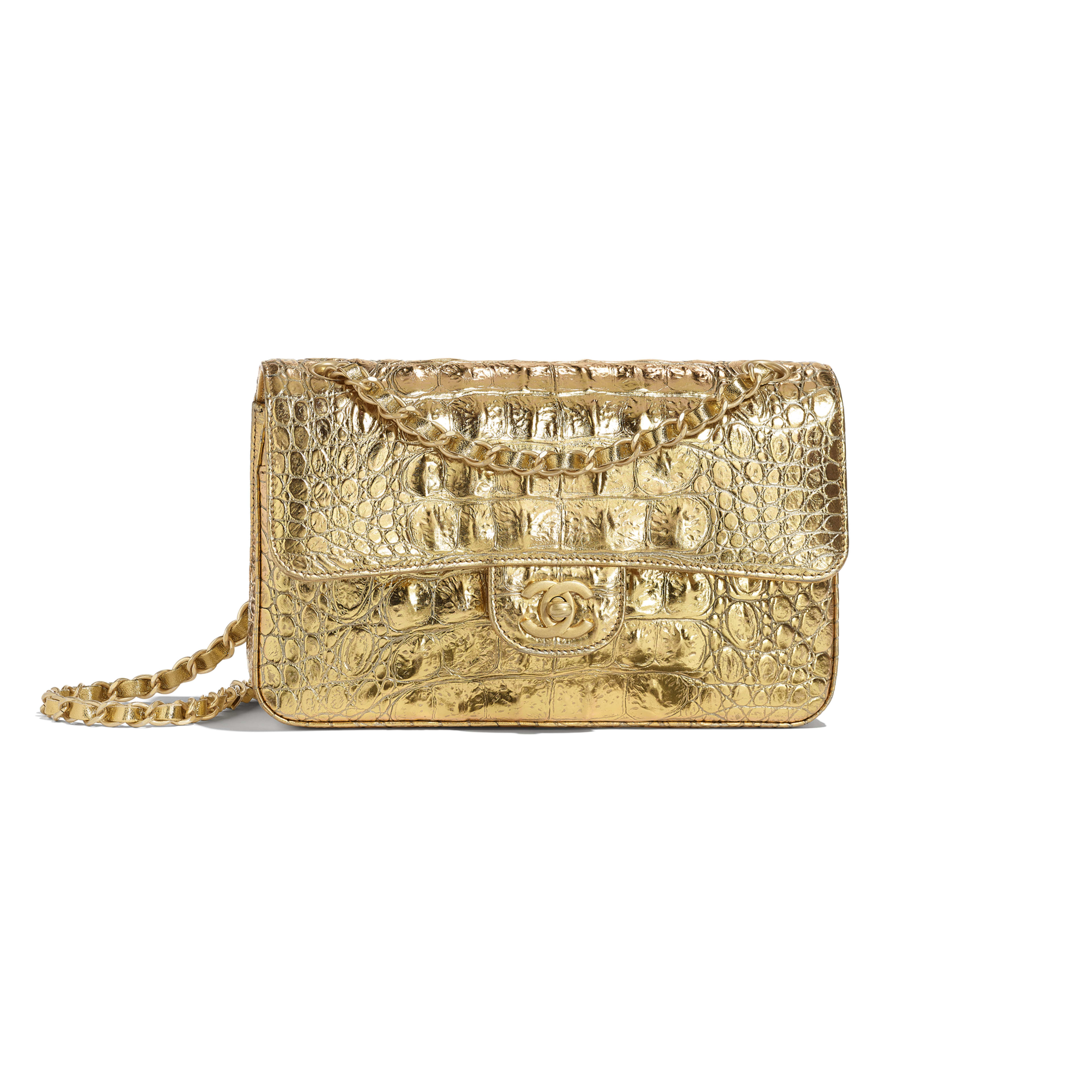 Small Classic Handbag - Gold - Metallic Crocodile Embossed Calfskin & Gold Metal - Default view - see full sized version