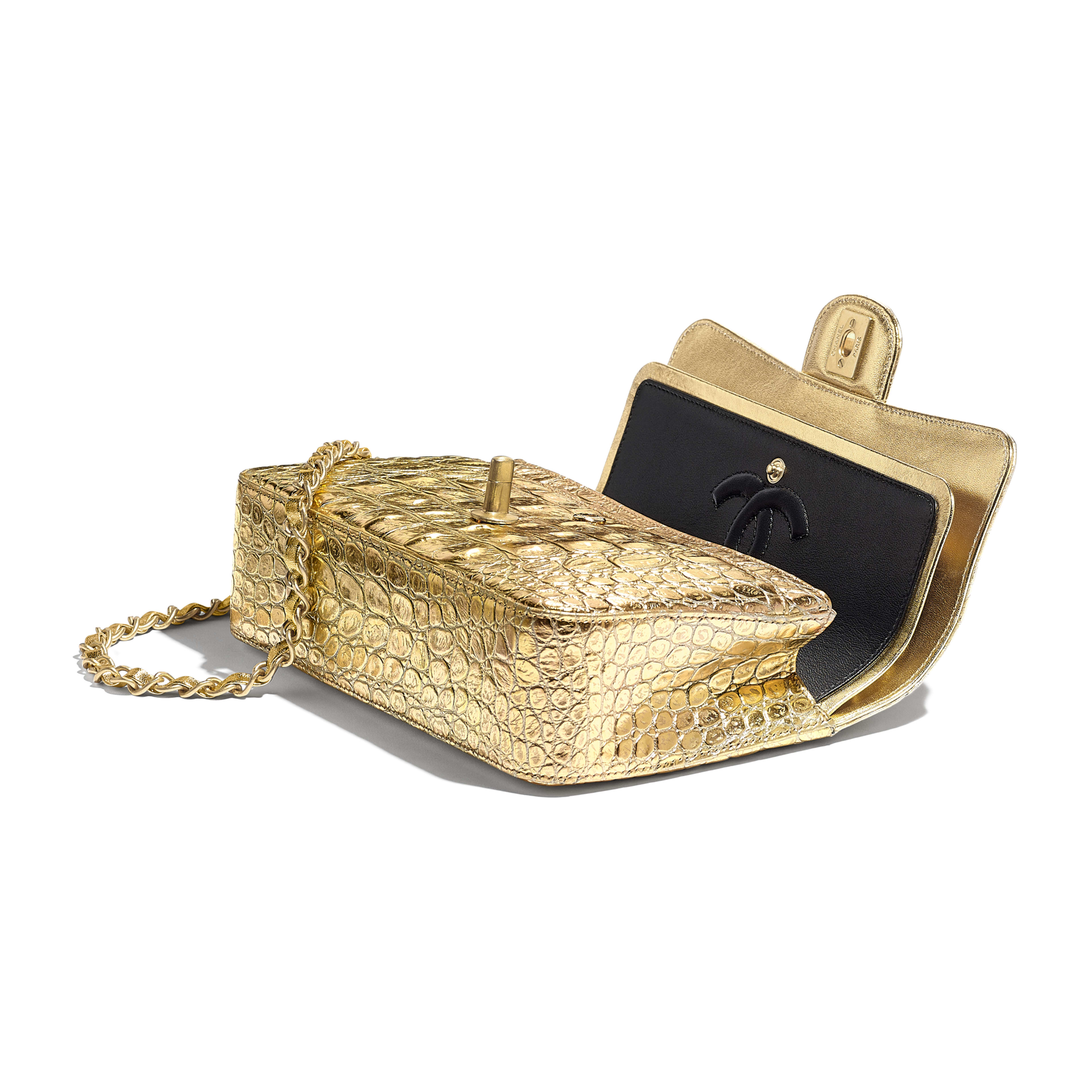 Small Classic Handbag - Gold - Metallic Crocodile Embossed Calfskin & Gold Metal - Other view - see full sized version
