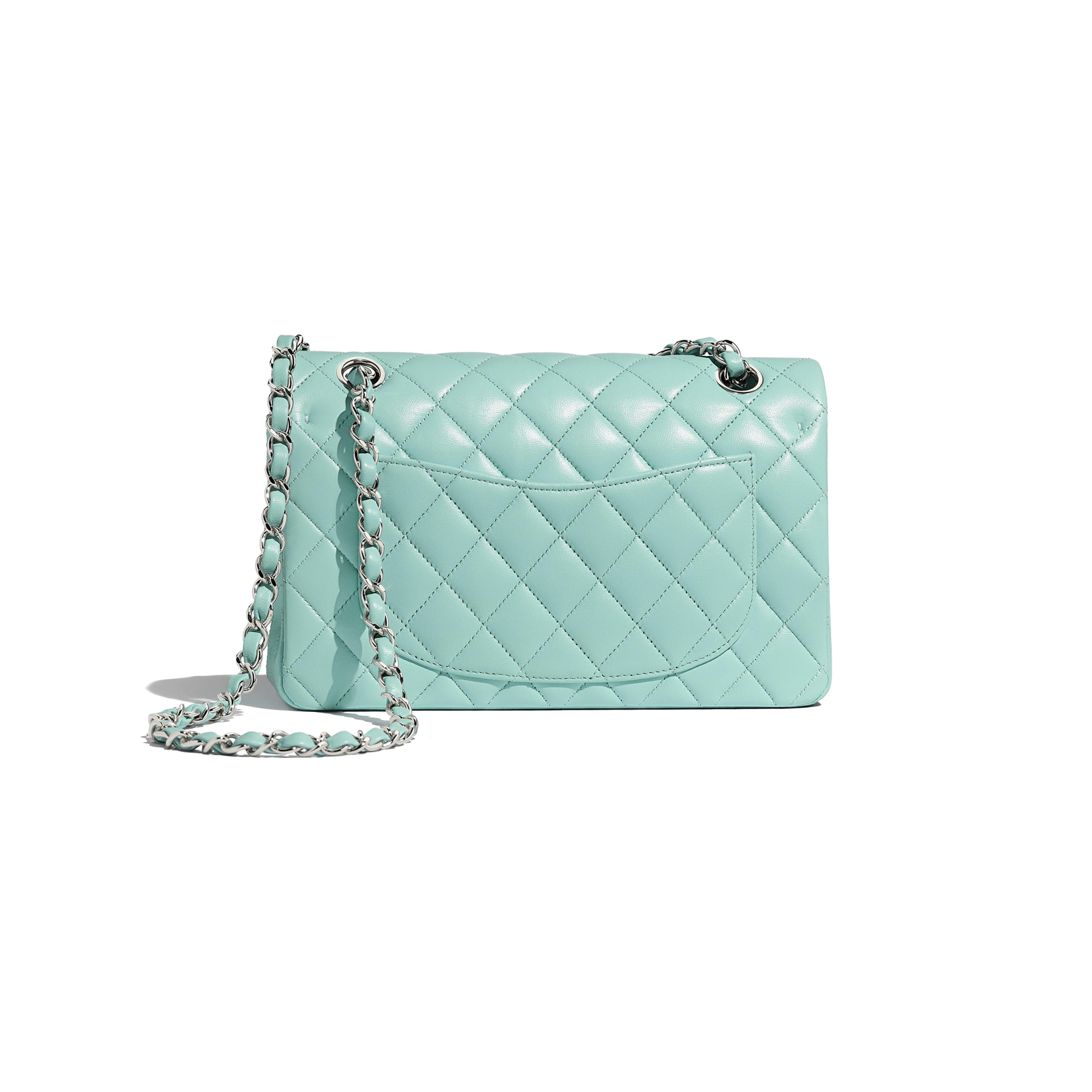 Small Classic Handbag - Light Blue - Lambskin & Silver-Tone Metal - Alternative view - see full sized version