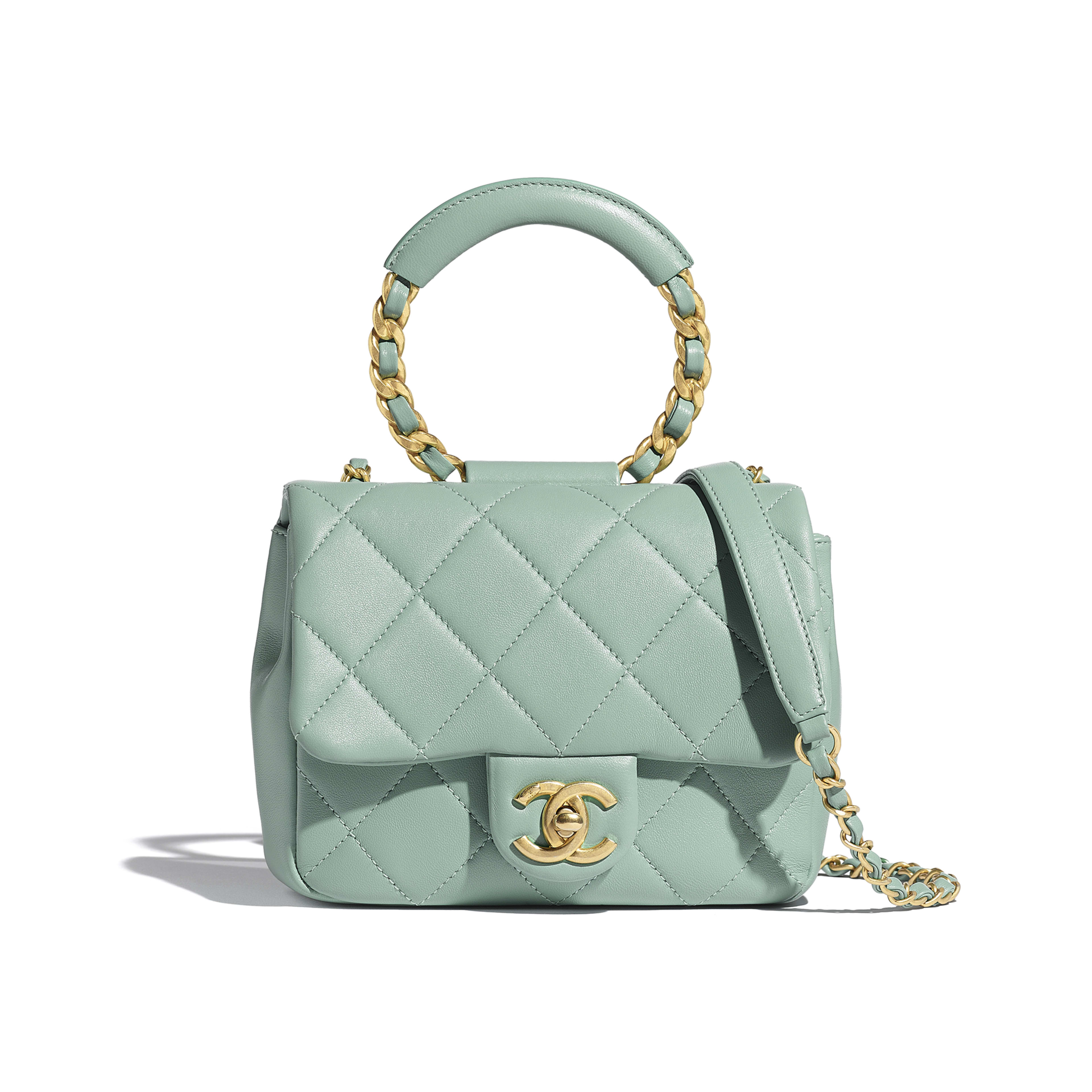 Small Flap Bag - Blue - Lambskin & Gold Metal  - Default view - see full sized version