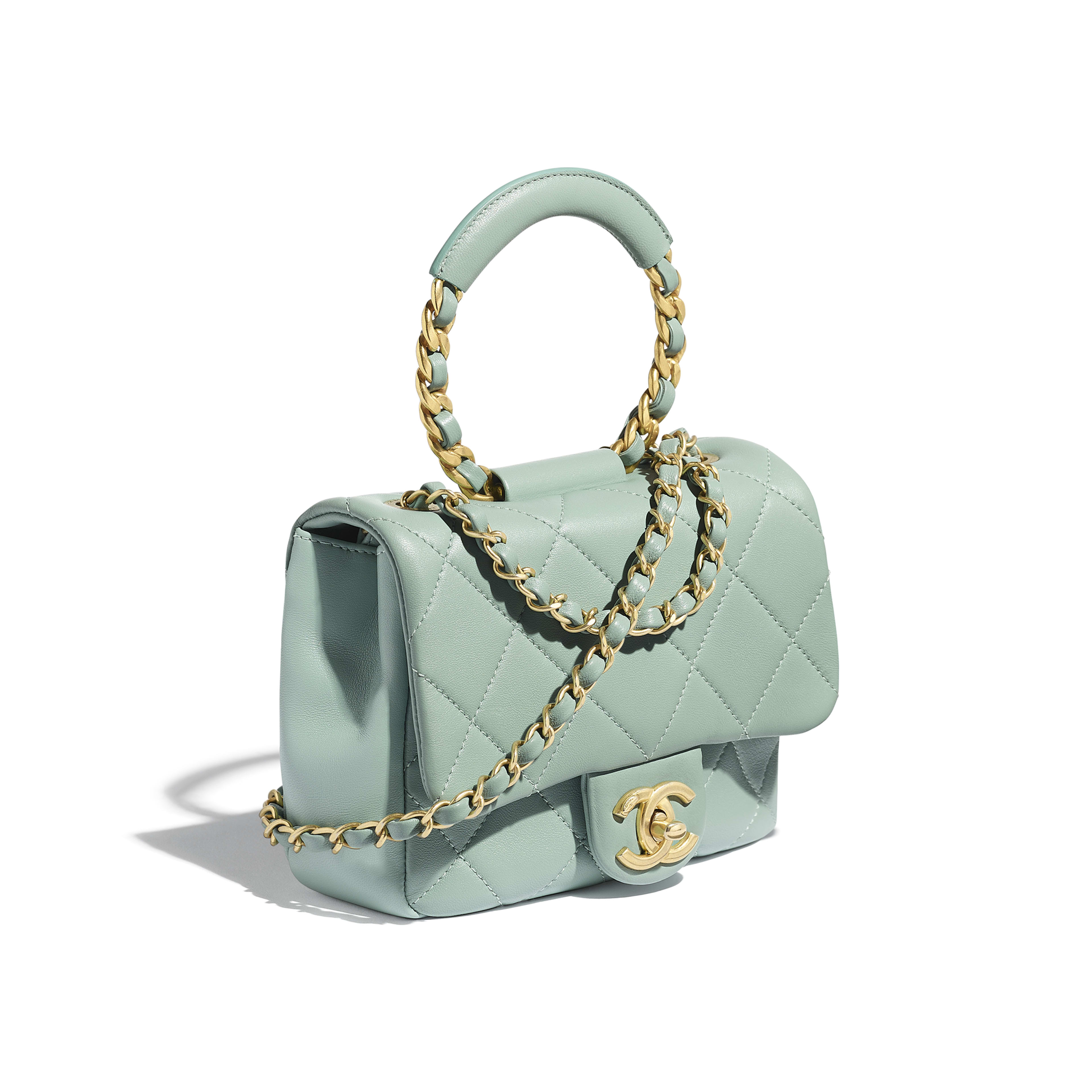 Small Flap Bag - Blue - Lambskin & Gold Metal  - Extra view - see full sized version