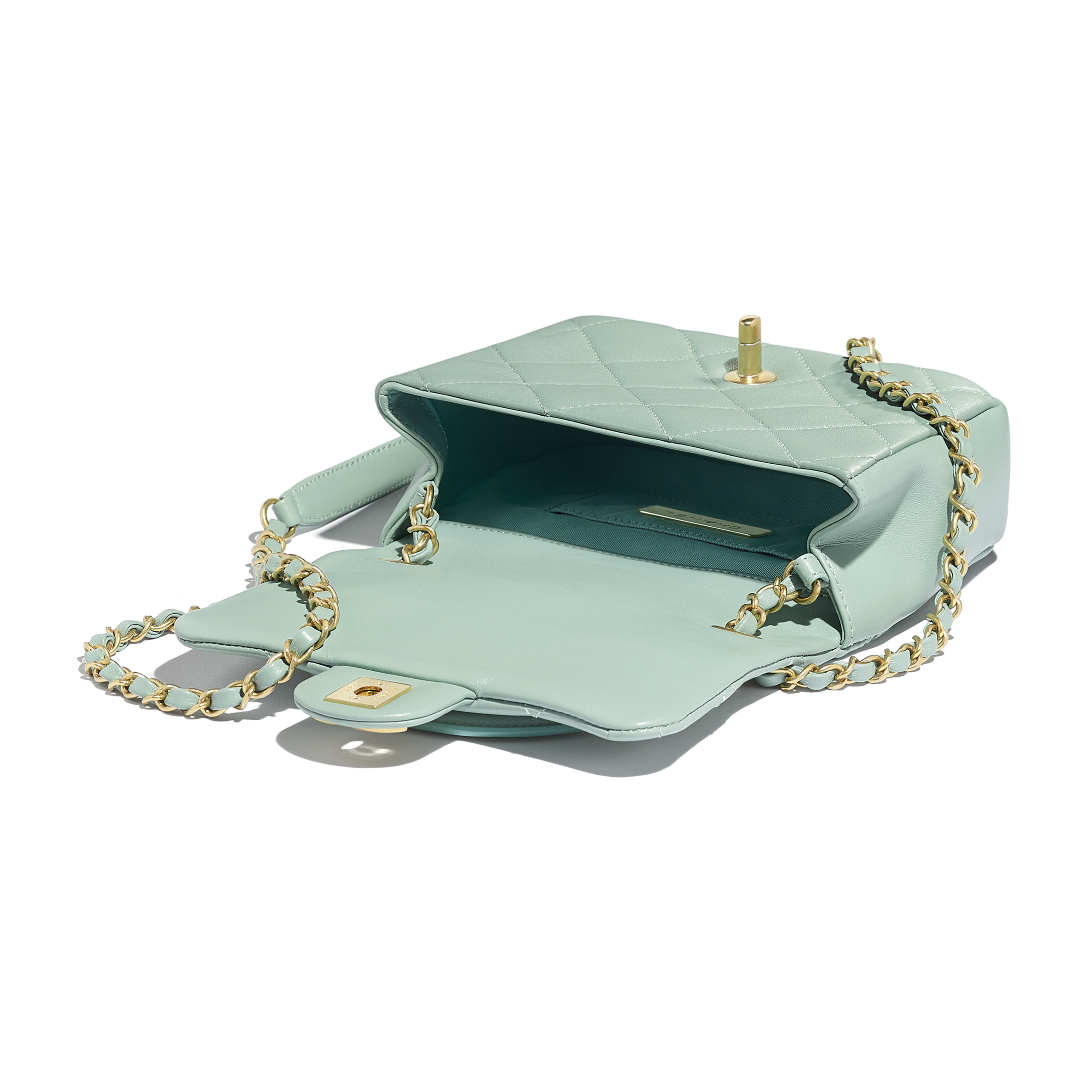 Small Flap Bag - Blue - Lambskin & Gold Metal  - Other view - see full sized version