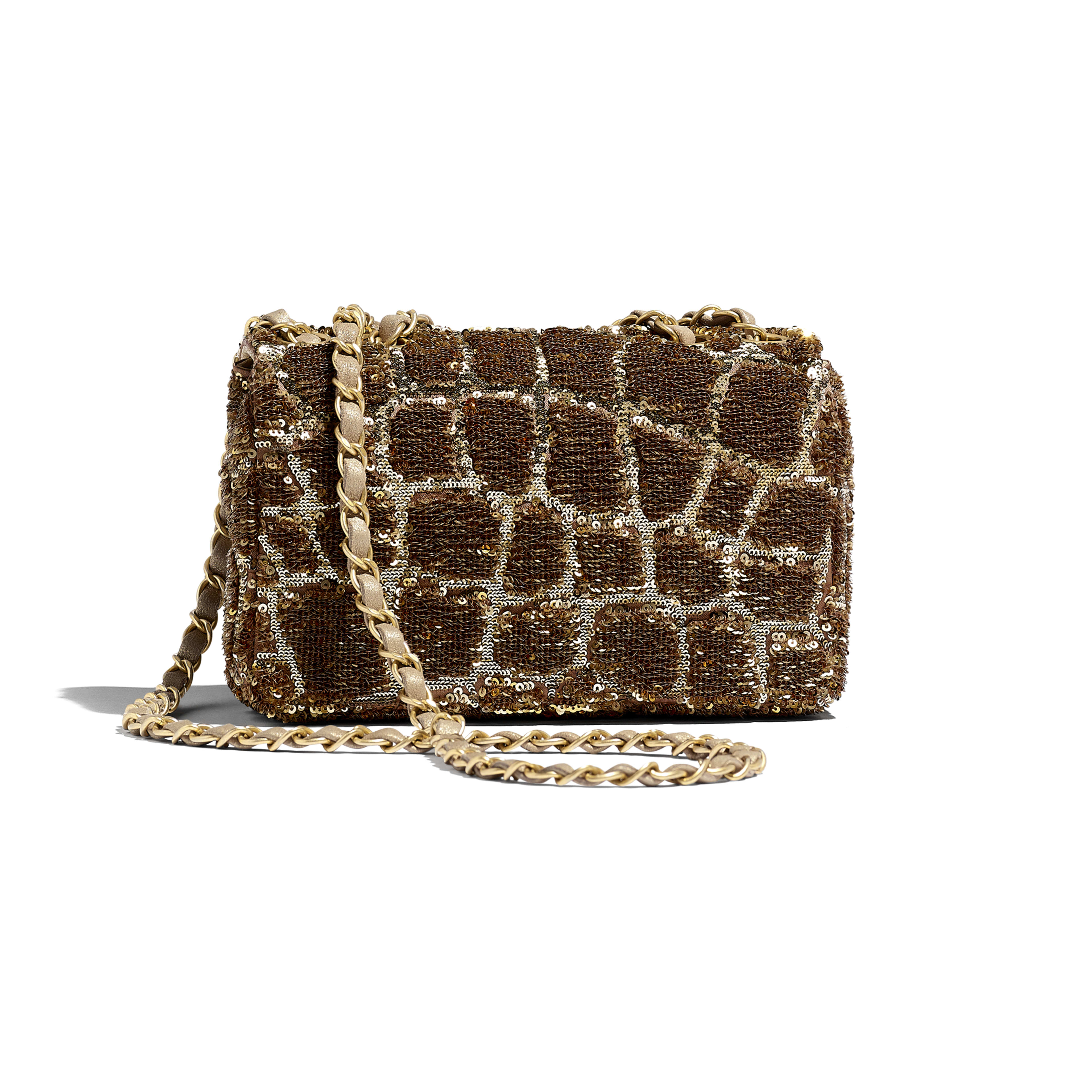 Small Flap Bag - Gold & Copper - Sequins & Gold-Tone Metal - Alternative view - see full sized version