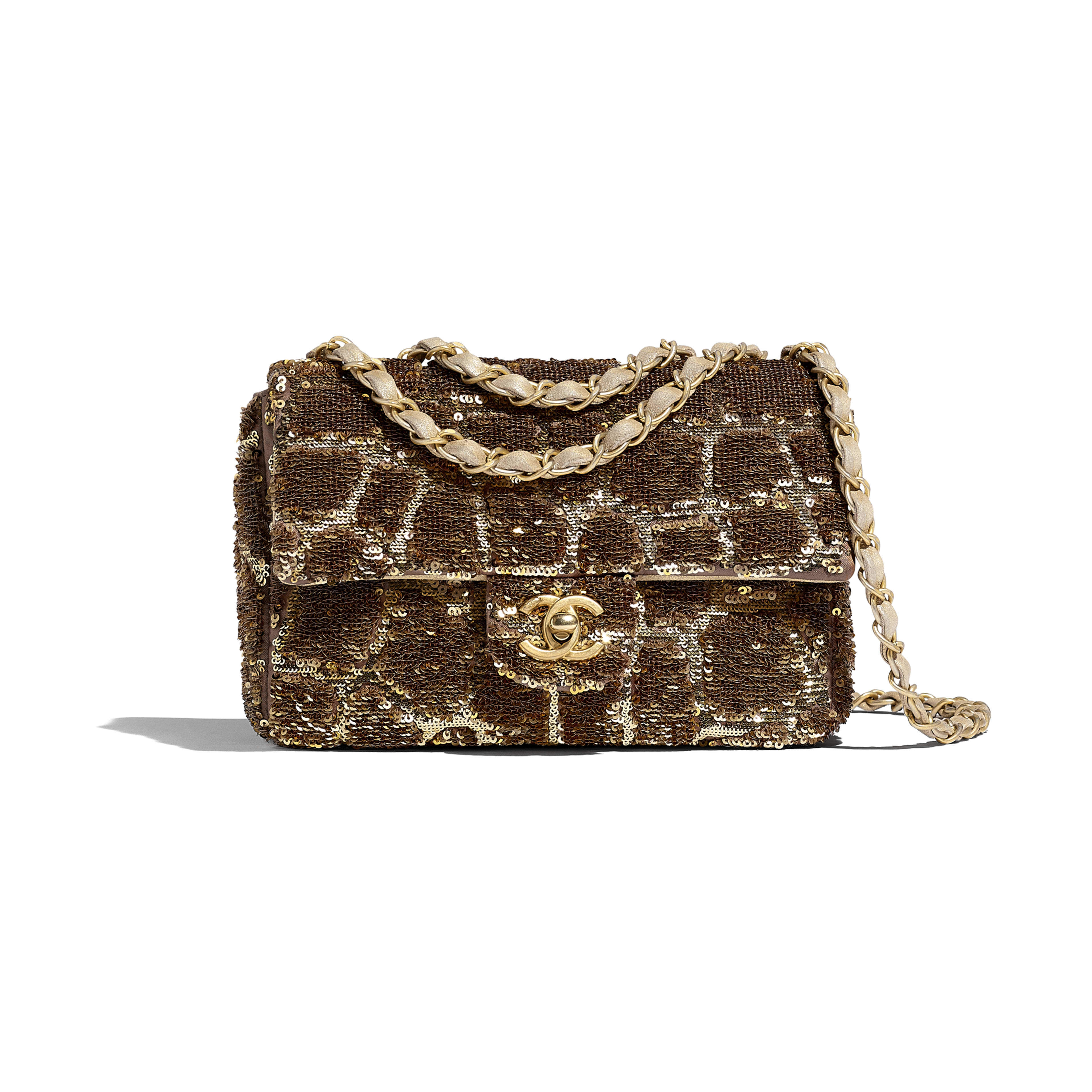 Small Flap Bag - Gold & Copper - Sequins & Gold-Tone Metal - Default view - see full sized version