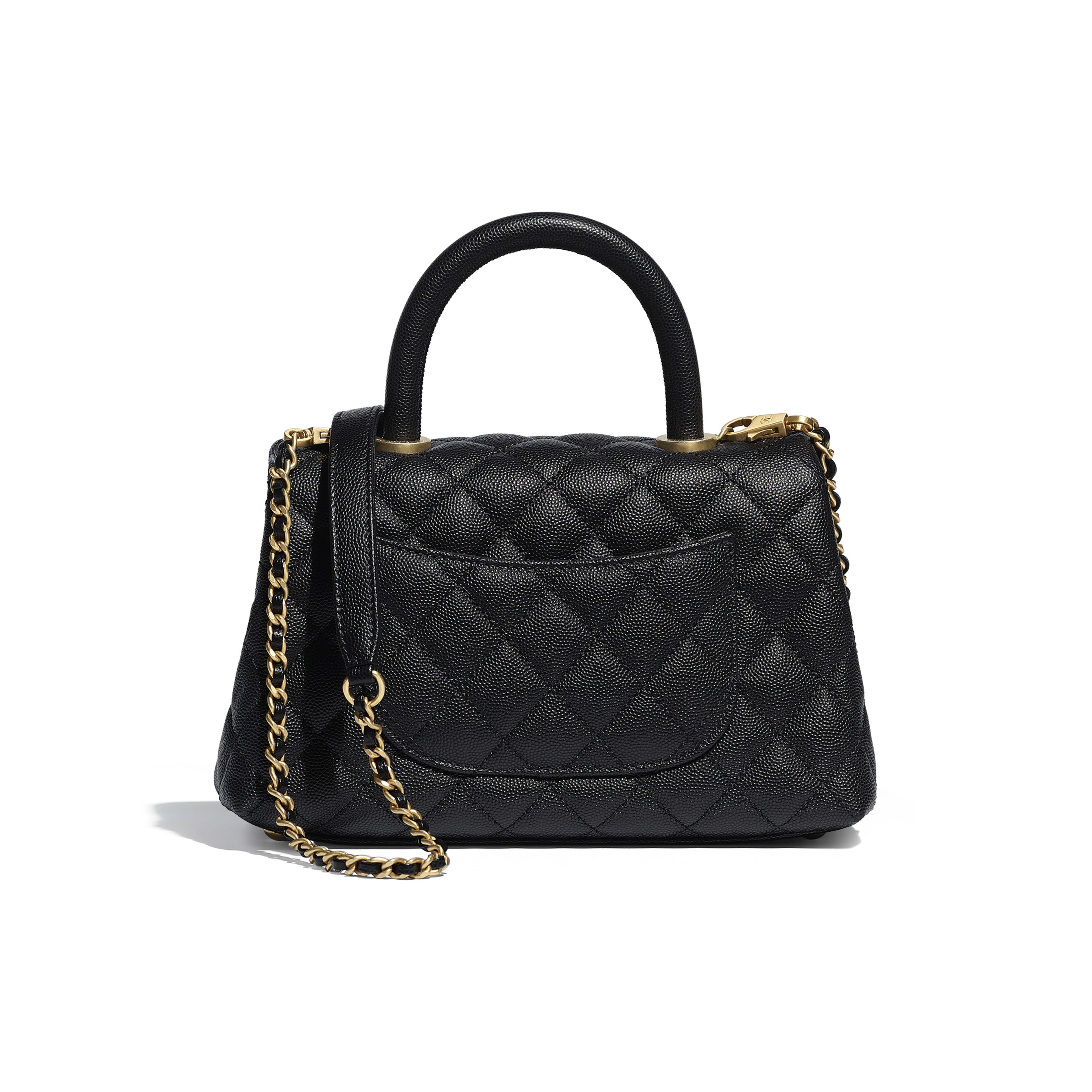 Small Flap Bag with Top Handle - Black - Grained Calfskin & Gold-Tone Metal - Alternative view - see full sized version