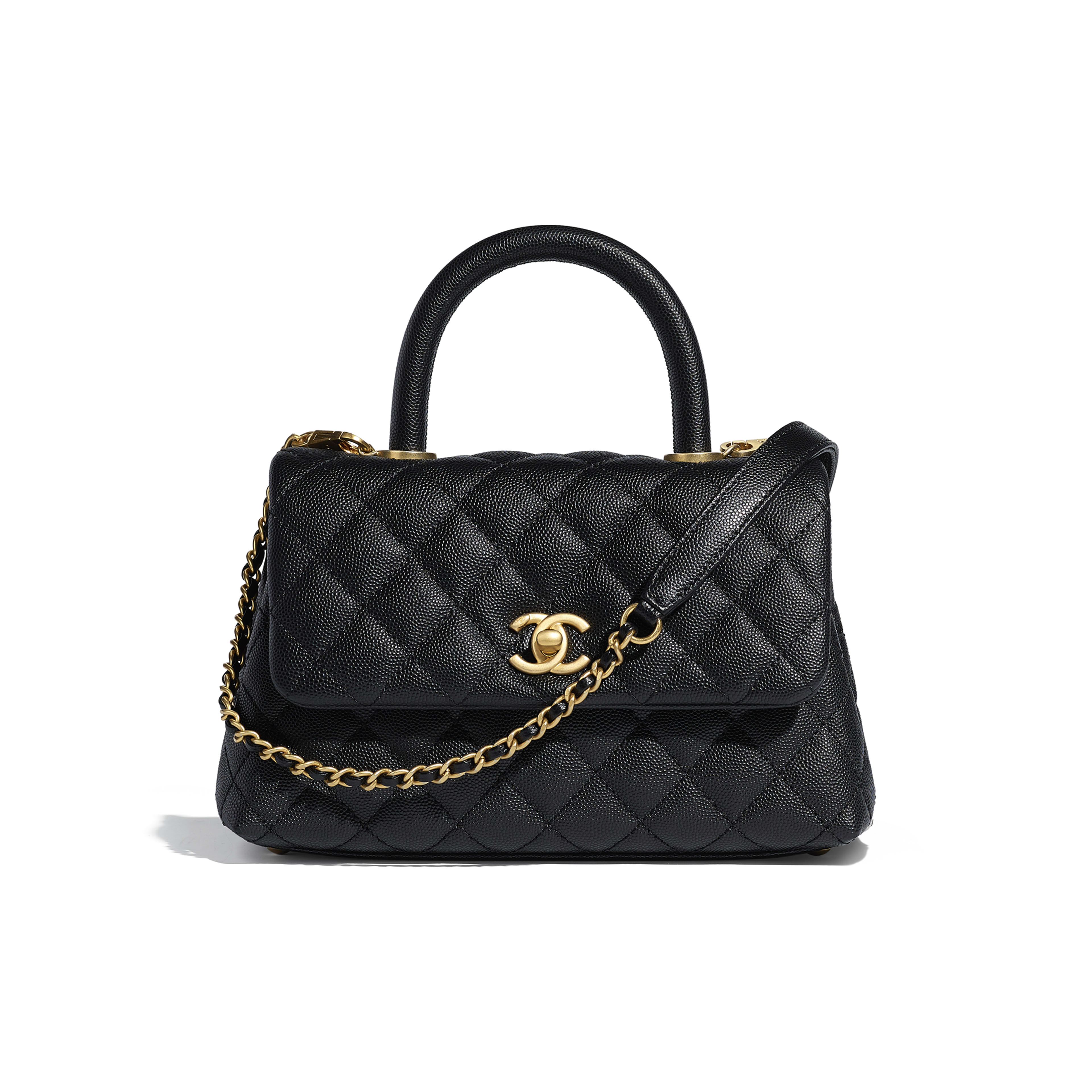 Small Flap Bag with Top Handle - Black - Grained Calfskin & Gold-Tone Metal - Default view - see full sized version