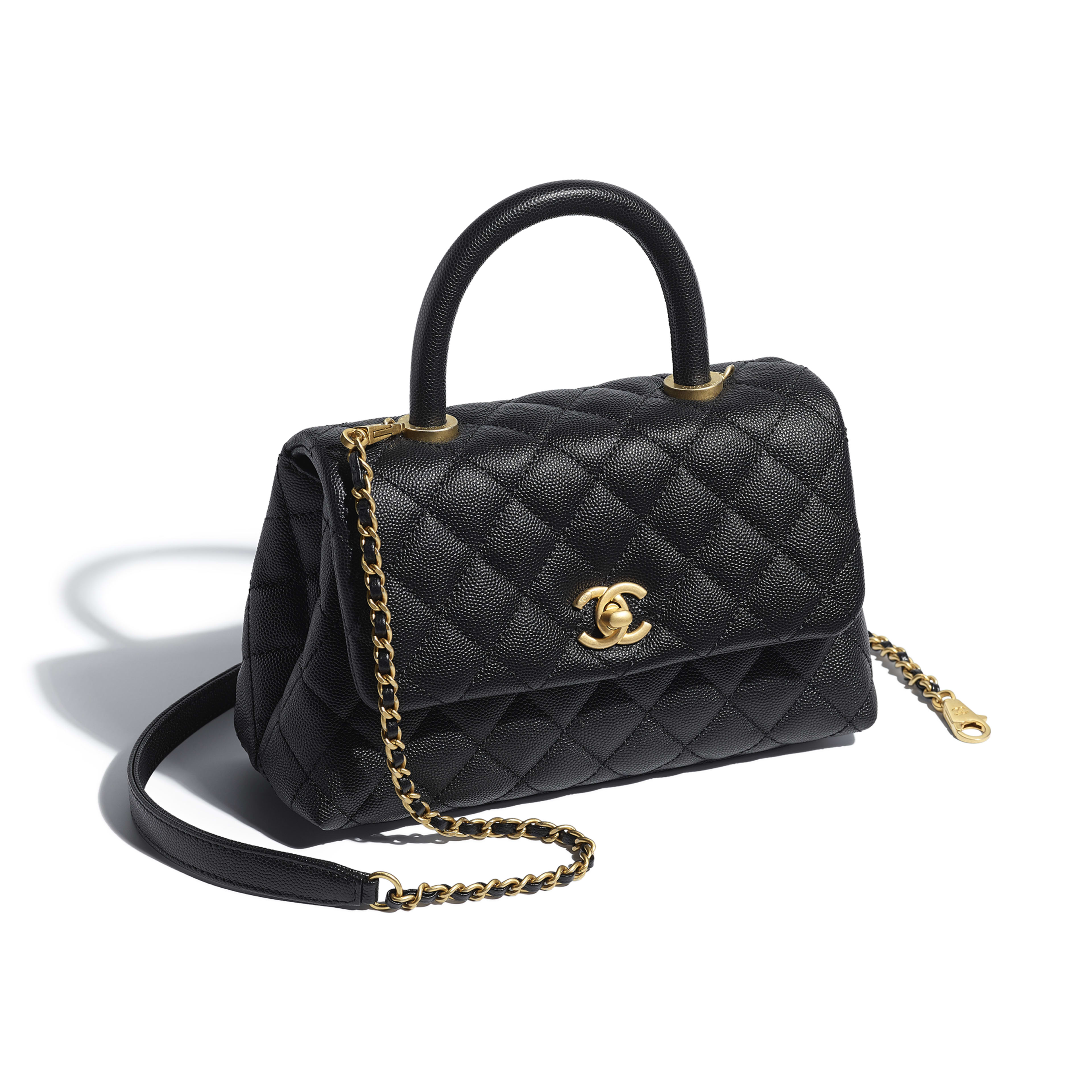 Small Flap Bag with Top Handle - Black - Grained Calfskin & Gold-Tone Metal - Other view - see full sized version