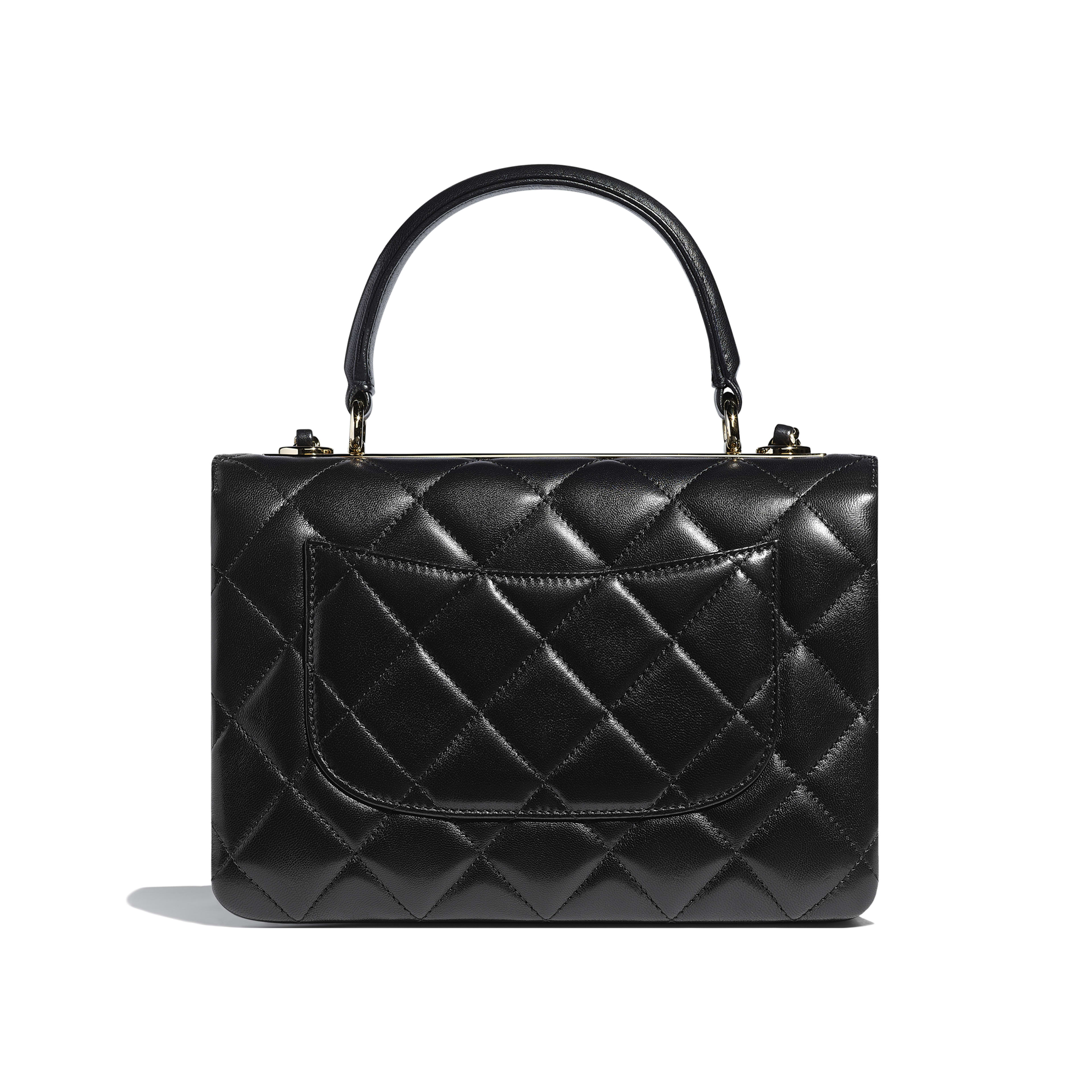 Small Flap Bag with Top Handle - Black - Lambskin & Gold-Tone Metal - Alternative view - see full sized version