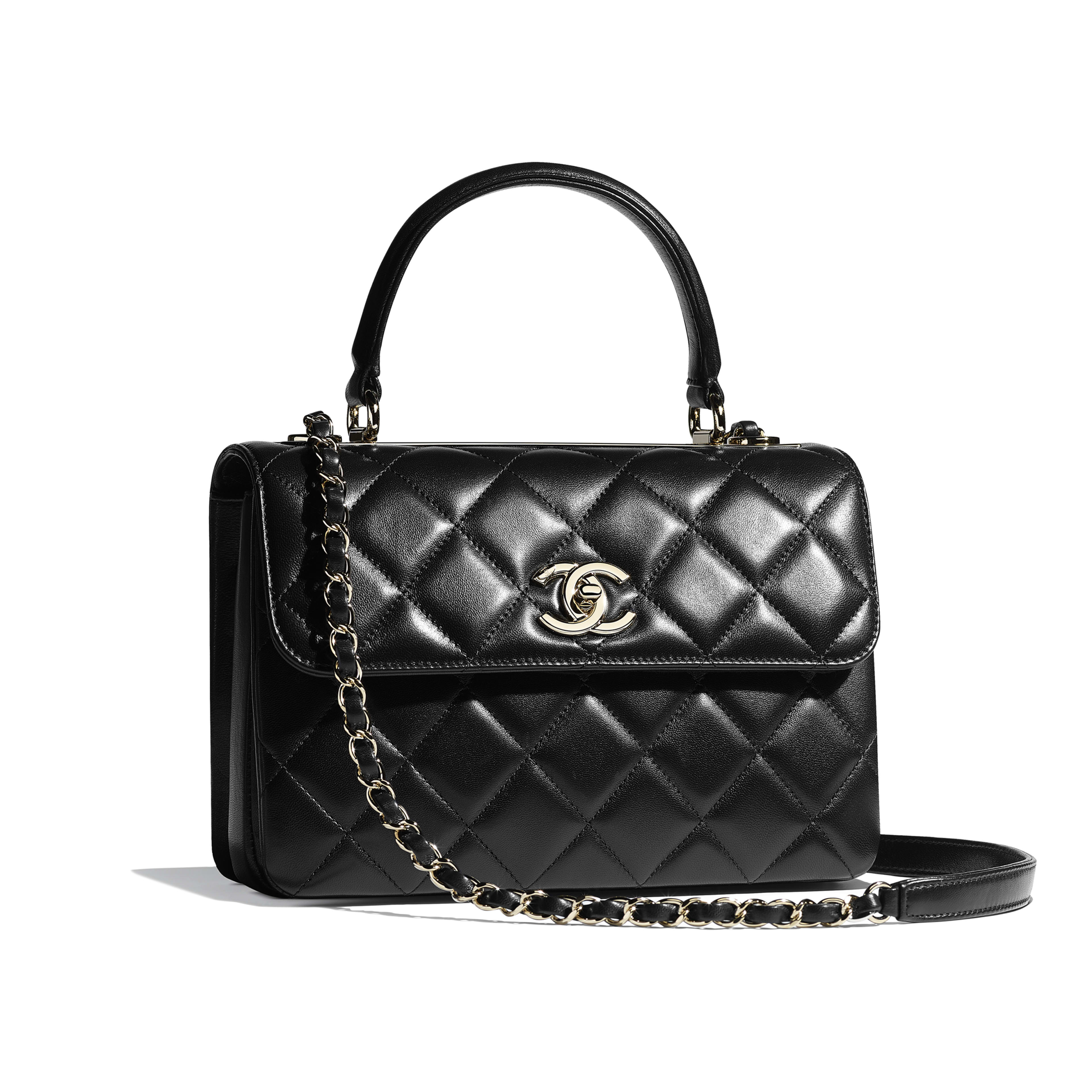 Small Flap Bag with Top Handle - Black - Lambskin & Gold-Tone Metal - Other view - see full sized version