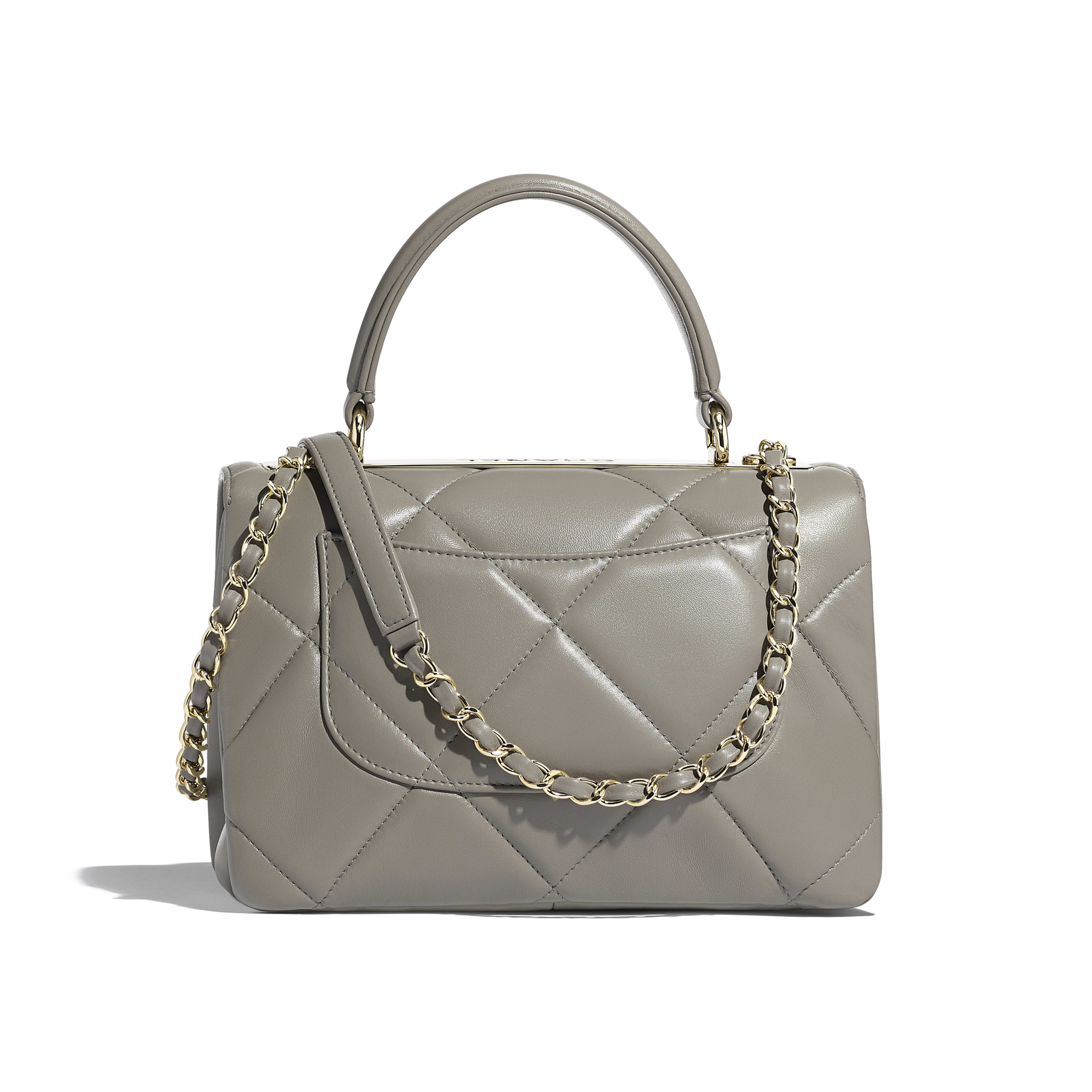 1caa33d082 Lambskin & Gold-Tone Metal Gray Small Flap Bag with Top Handle   CHANEL