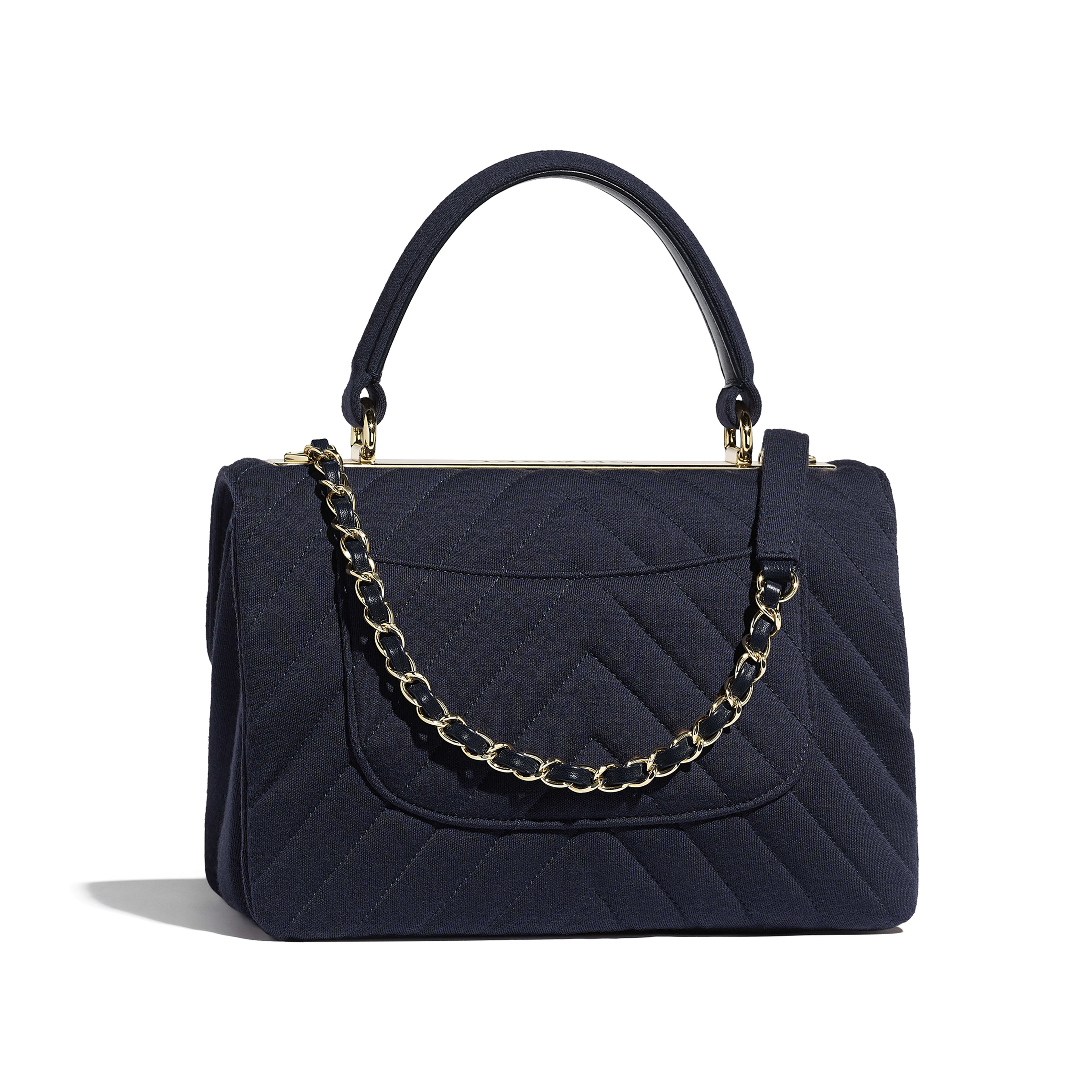 Small Flap Bag with Top Handle - Navy Blue - Jersey & Gold-Tone Metal - Alternative view - see full sized version
