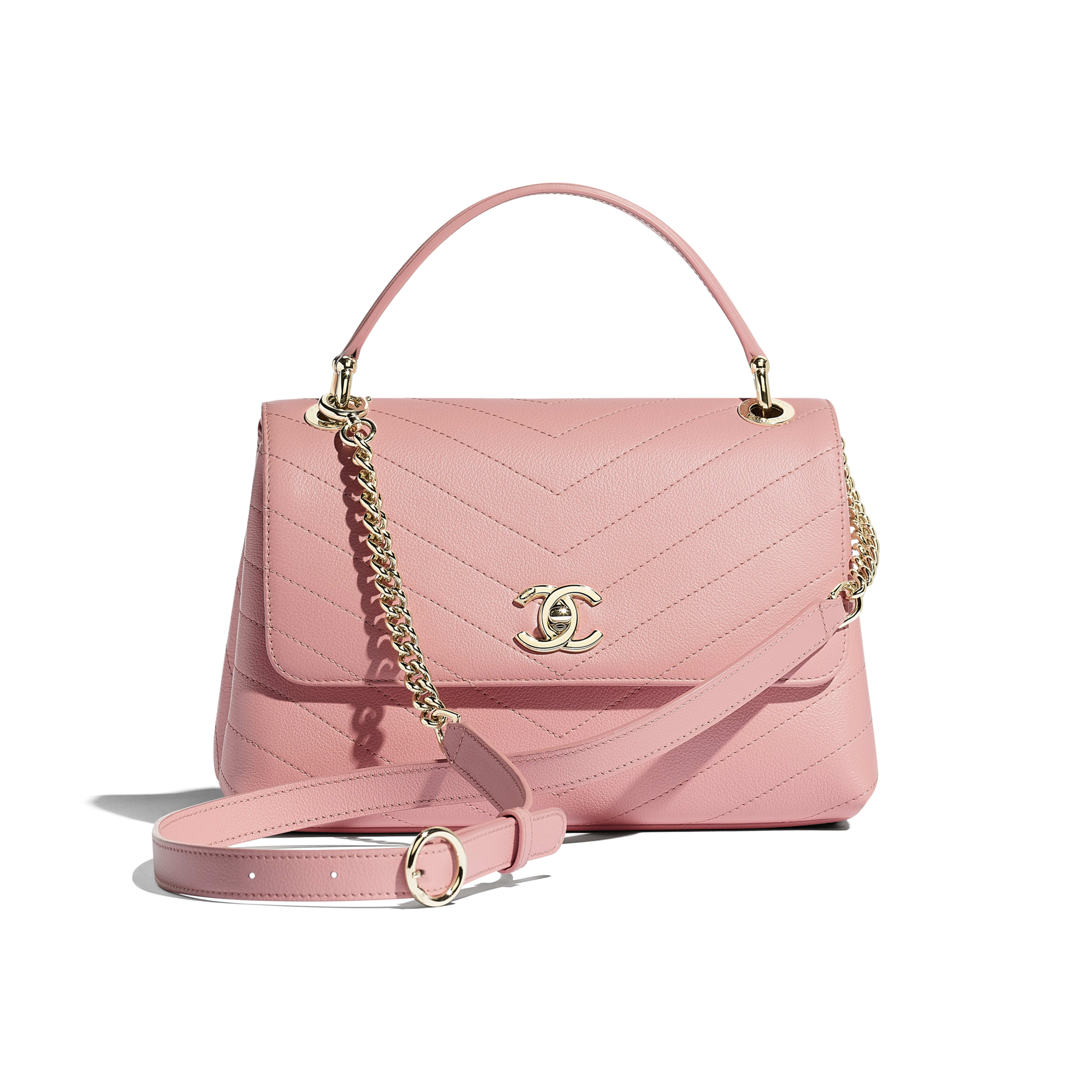 Small Flap Bag with Top Handle - Pink - Grained Calfskin & Gold-Tone Metal - Default view - see full sized version