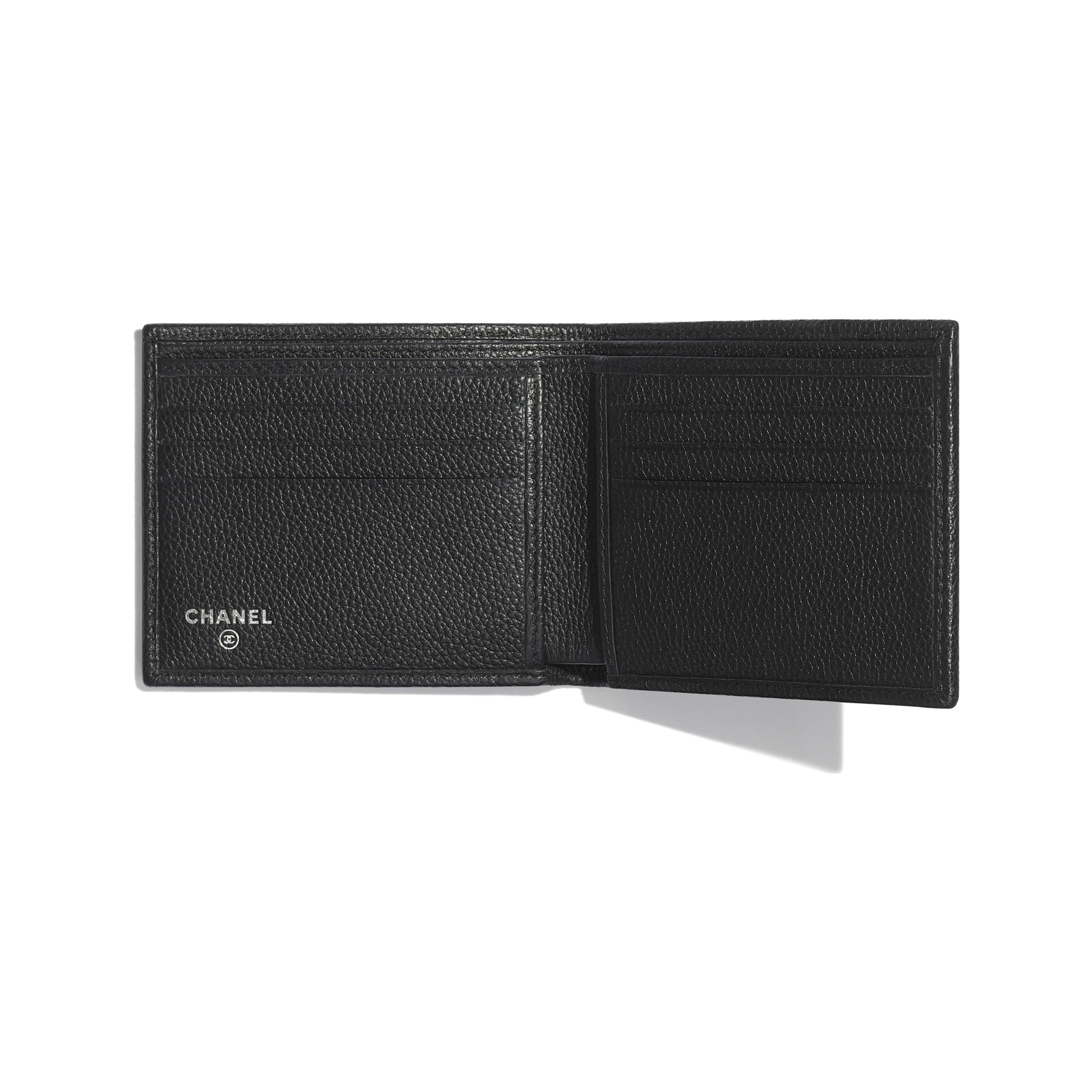 Small Flap Wallet - Black - Grained Calfskin & Ruthenium-Finish Metal - Other view - see full sized version