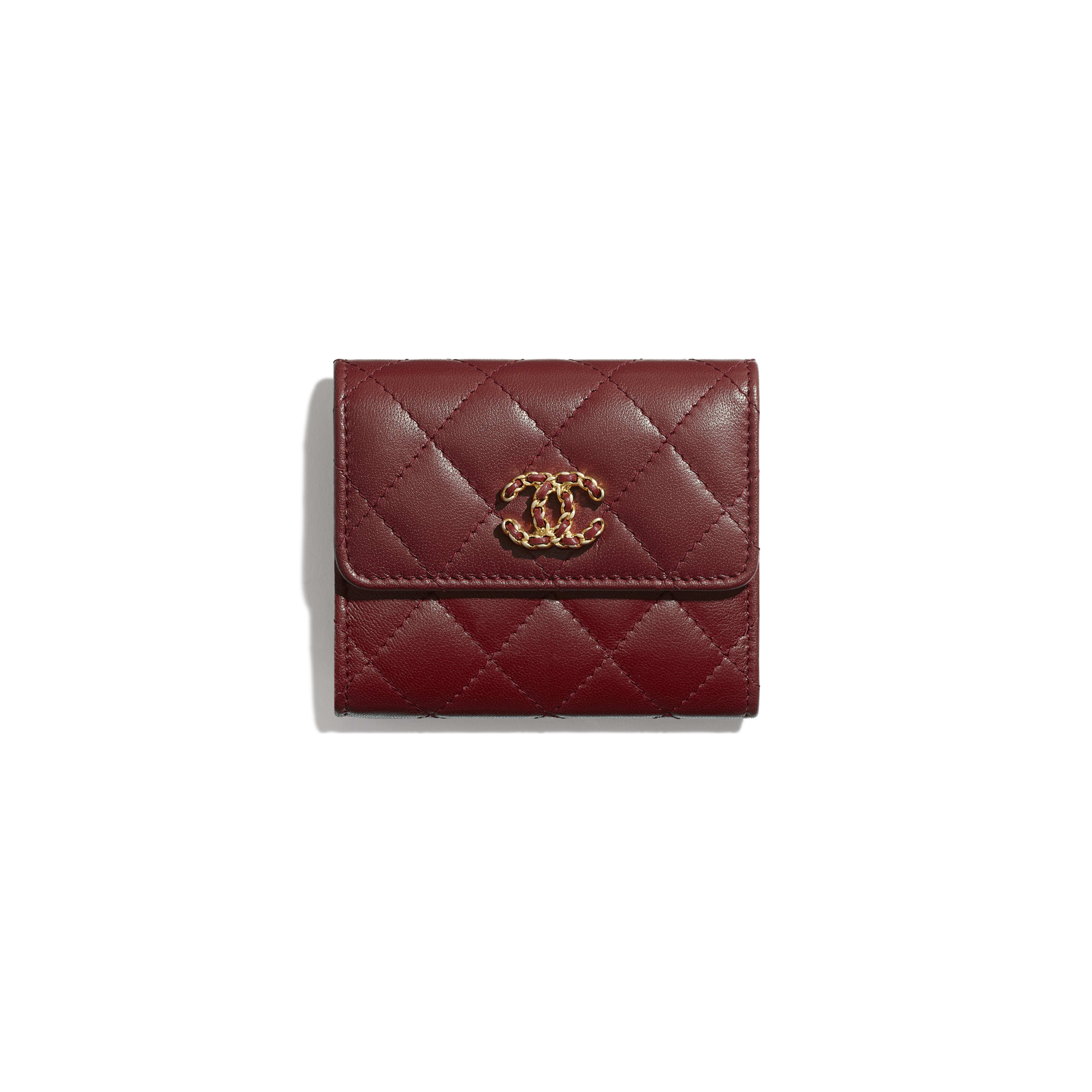 Small Flap Wallet - Burgundy - Lambskin - Default view - see full sized version