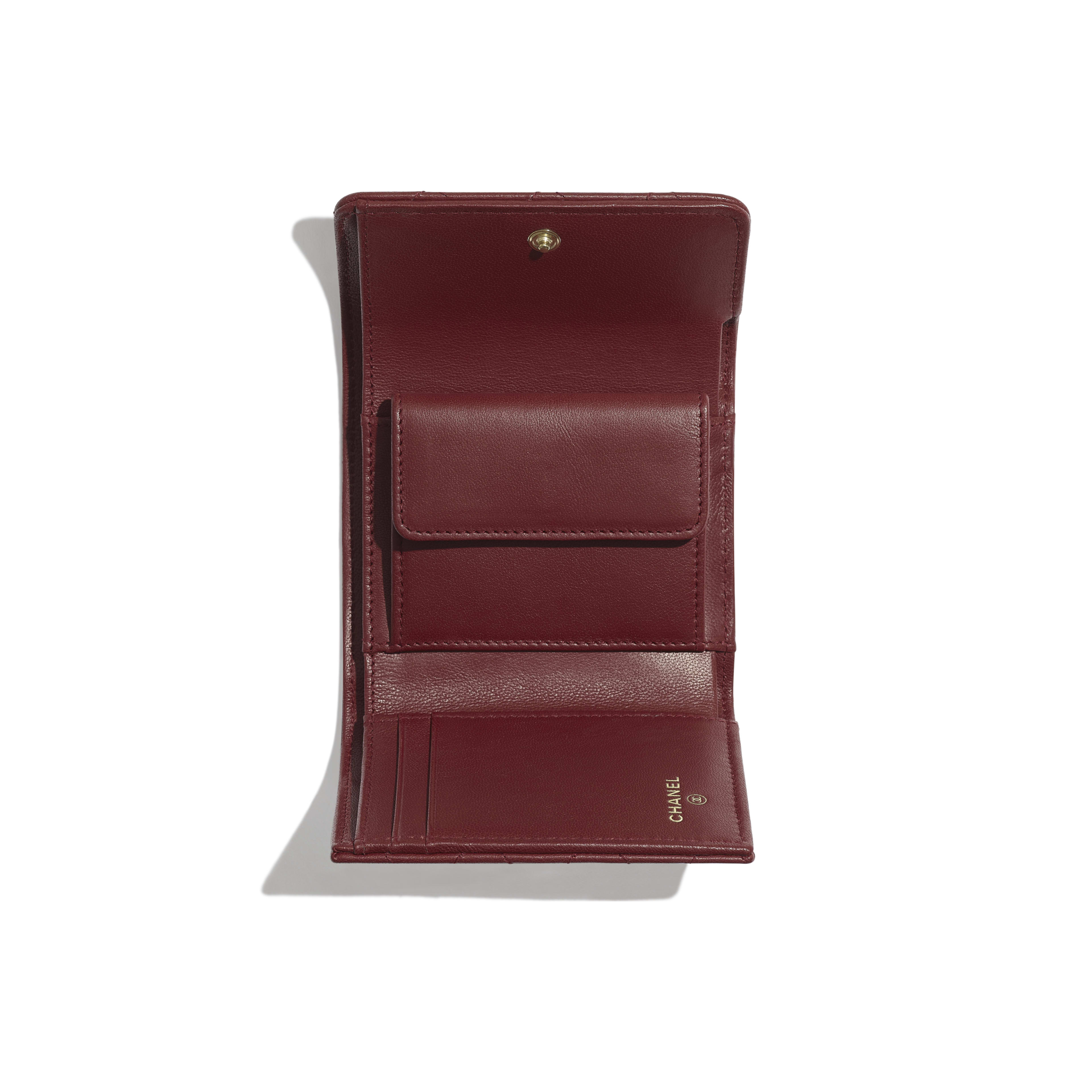 Small Flap Wallet - Burgundy - Lambskin - Other view - see full sized version