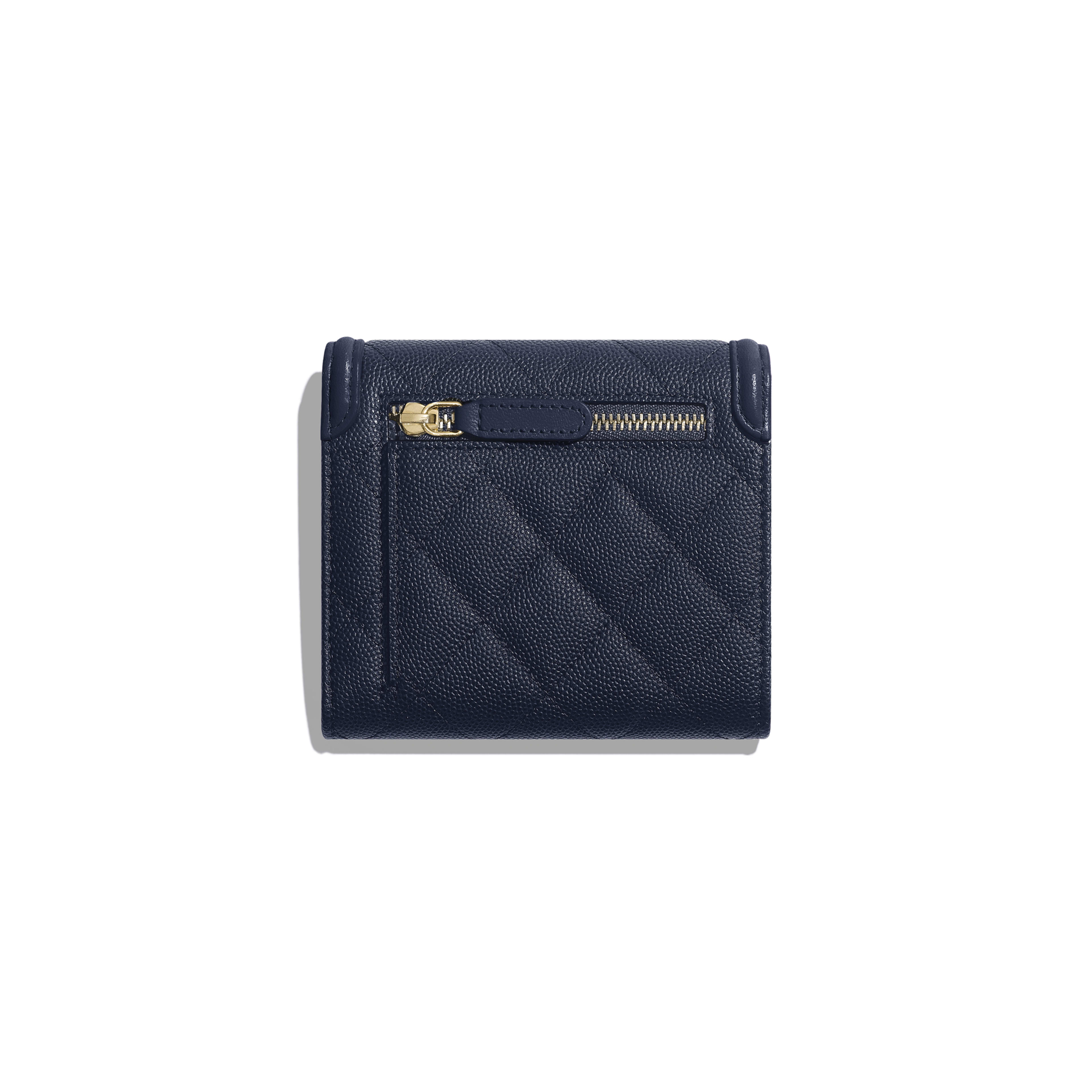 Small Flap Wallet - Navy Blue - Grained Calfskin & Gold-Tone Metal - Alternative view - see full sized version