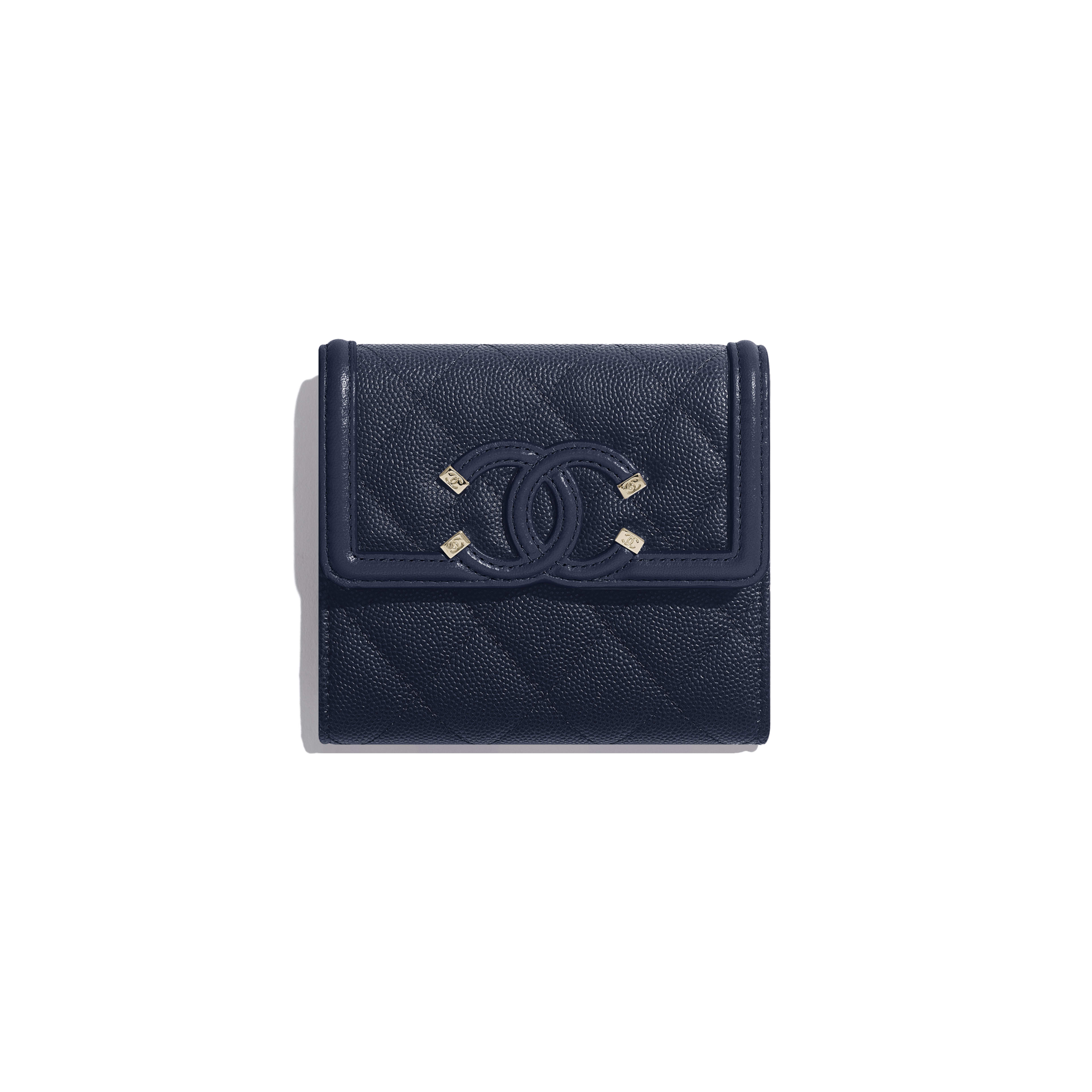 Small Flap Wallet - Navy Blue - Grained Calfskin & Gold-Tone Metal - Default view - see full sized version
