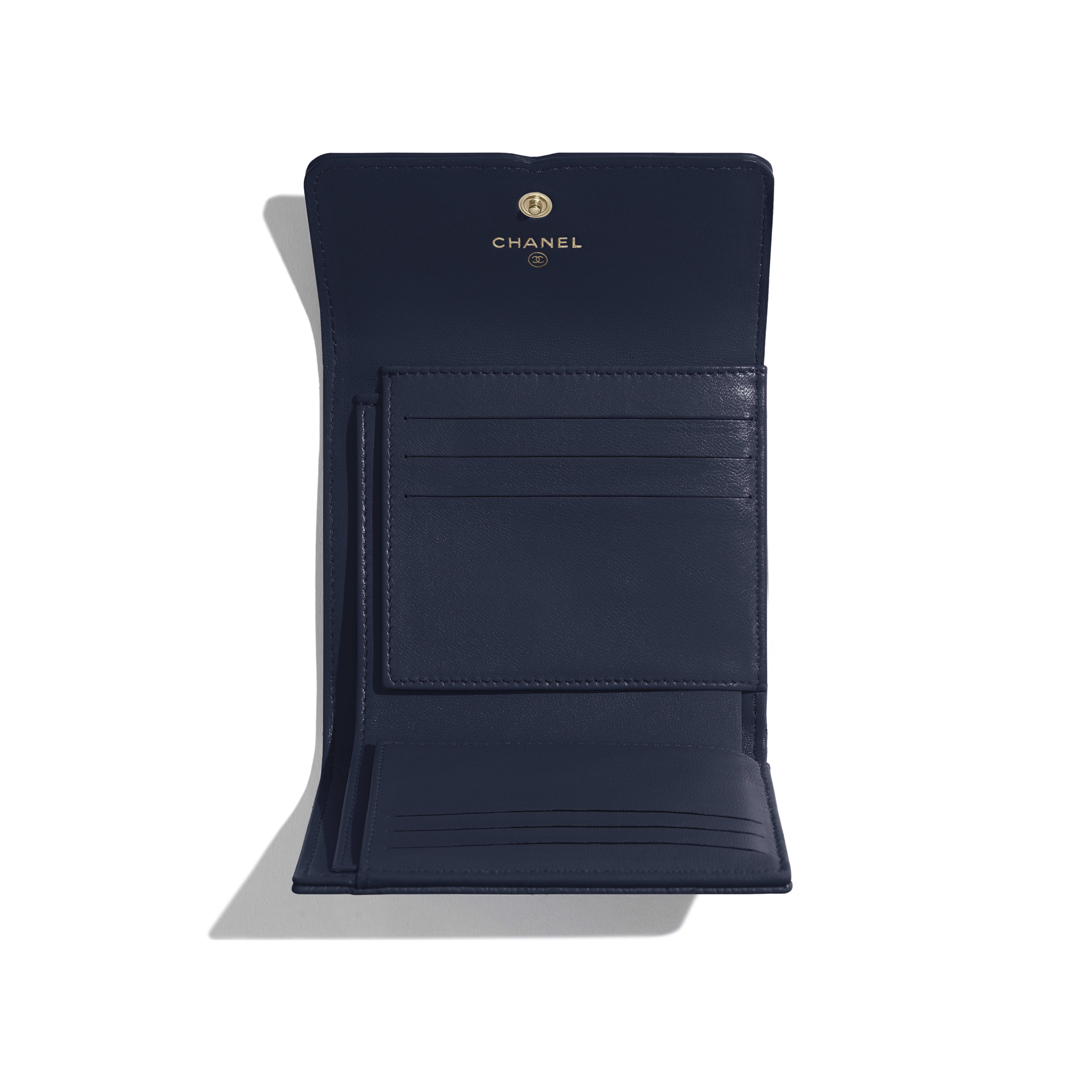 Small Flap Wallet - Navy Blue - Grained Calfskin & Gold-Tone Metal - Other view - see full sized version