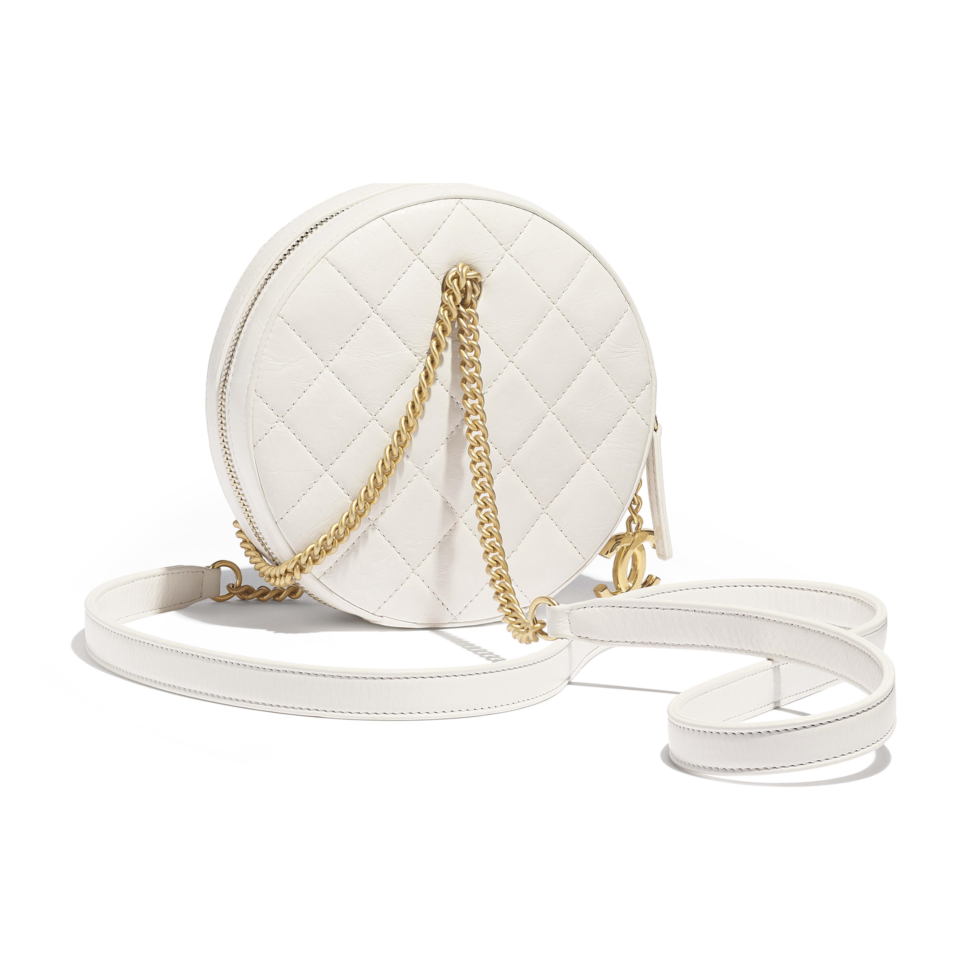 Small Round Bag - White - Crumpled Calfskin