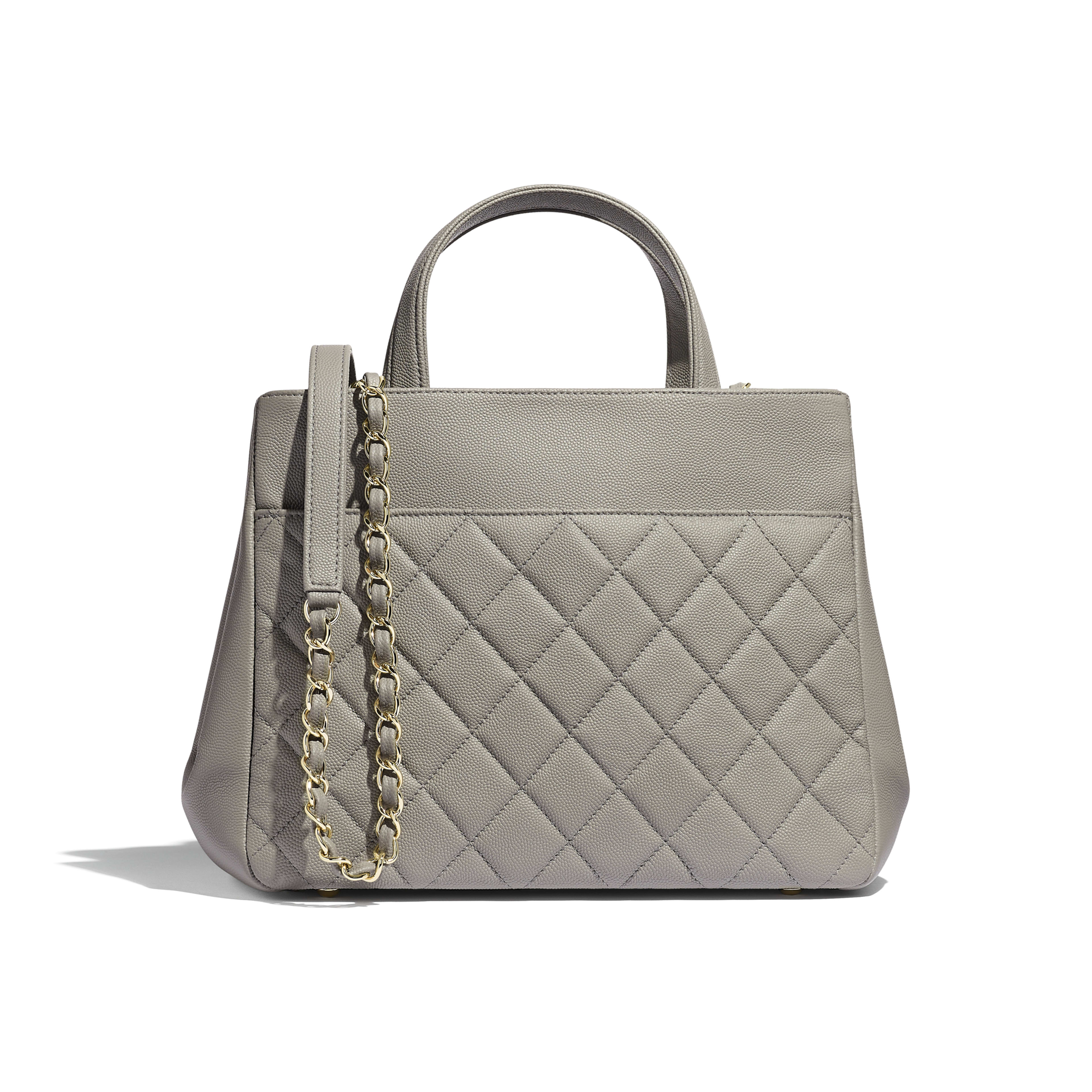 Small Shopping Bag - Gray - Grained Calfskin & Gold-Tone Metal - Alternative view - see full sized version