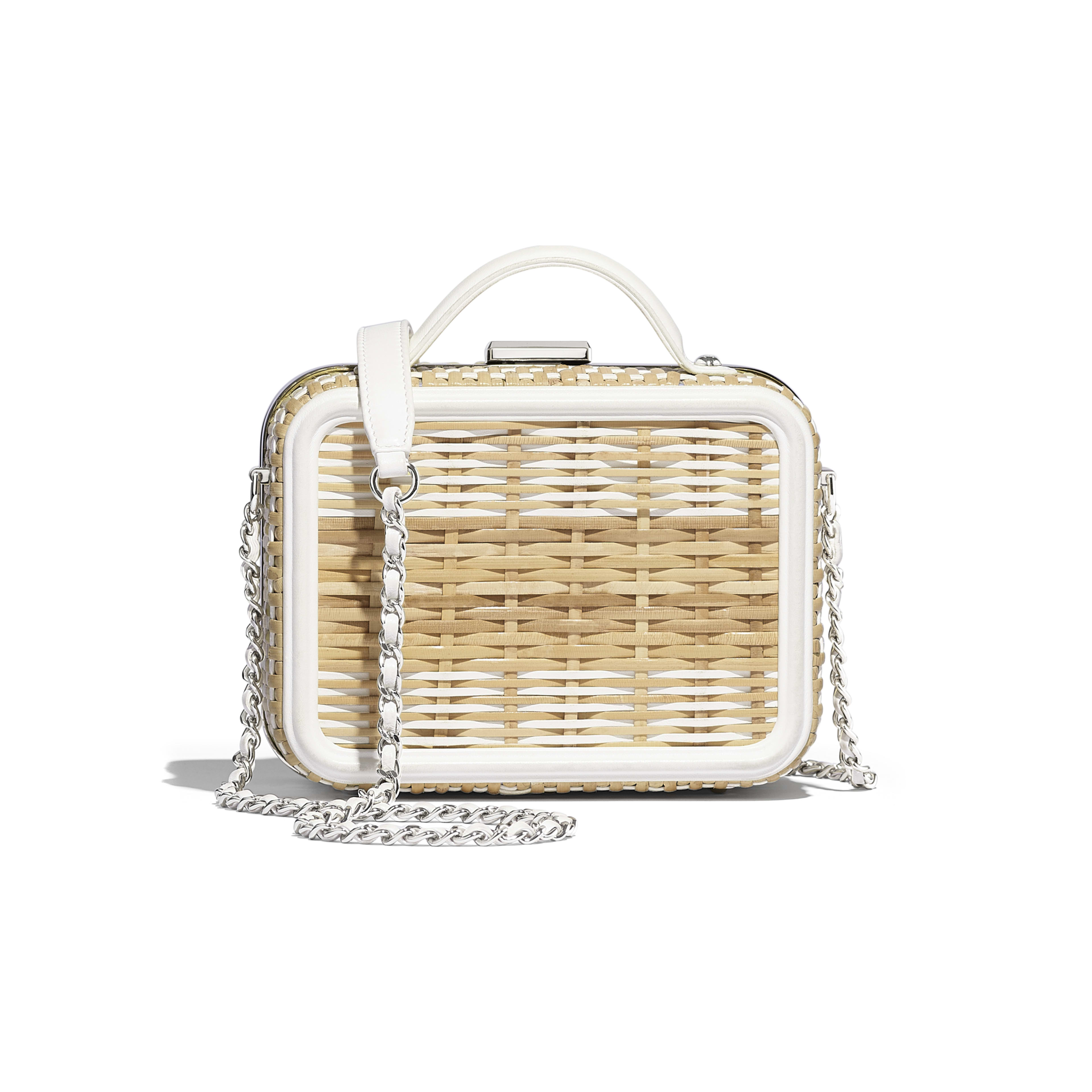 Small Vanity Case - Beige & White - Rattan, Calfskin & Silver-Tone Metal - Alternative view - see full sized version