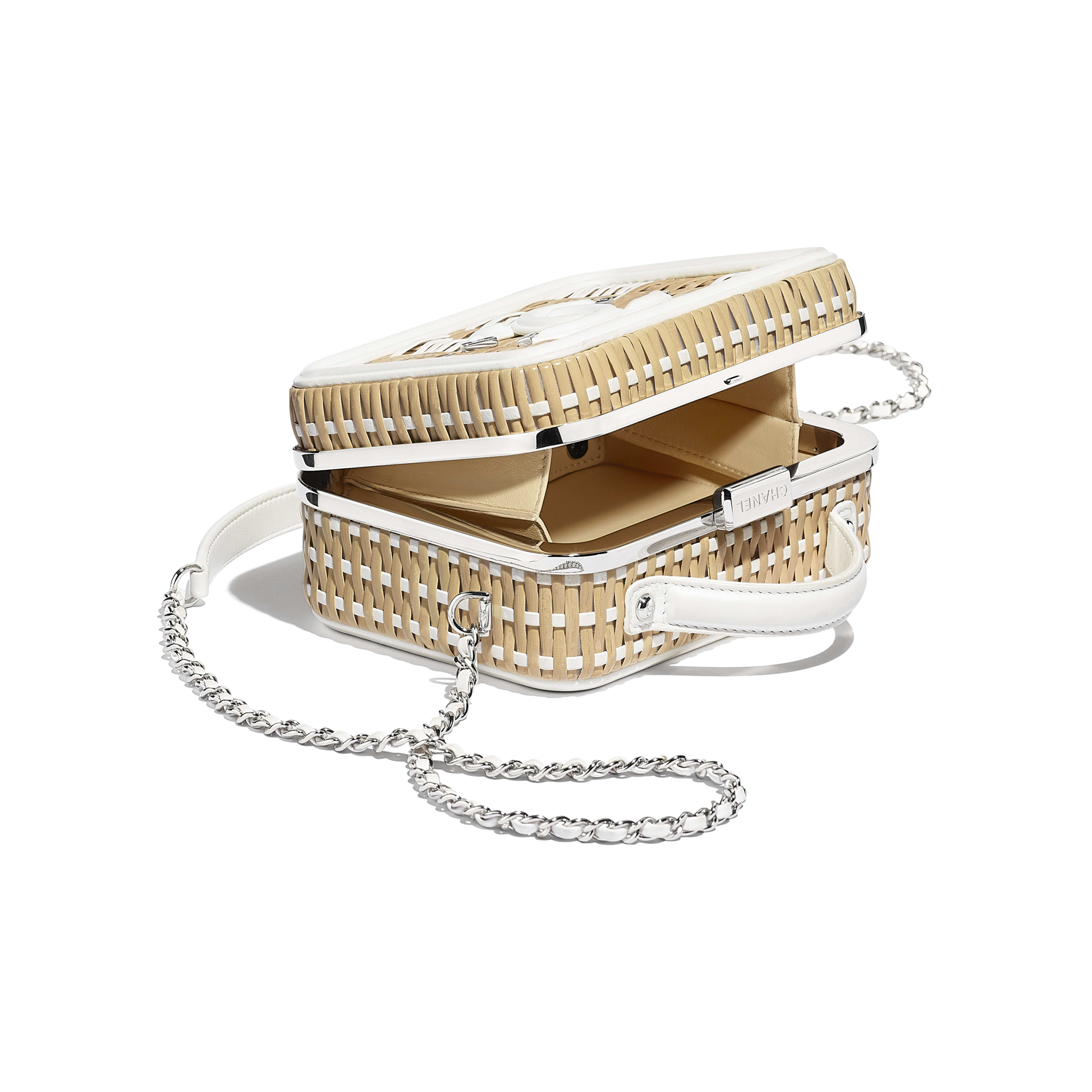 Small Vanity Case - Beige & White - Rattan, Calfskin & Silver-Tone Metal - Other view - see full sized version