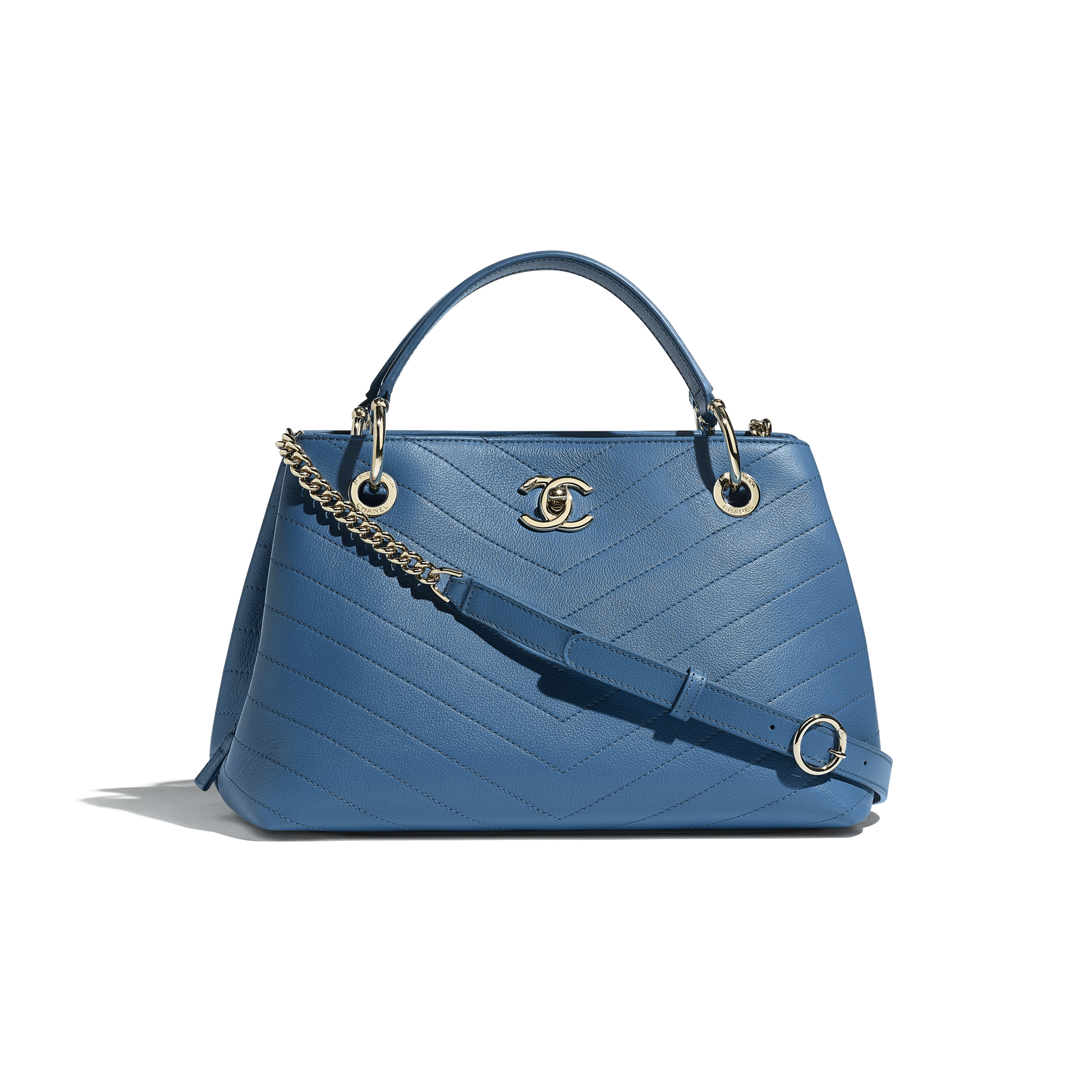 Small Zipped Shopping Bag - Blue - Grained Calfskin & Gold-Tone Metal - Default view - see full sized version