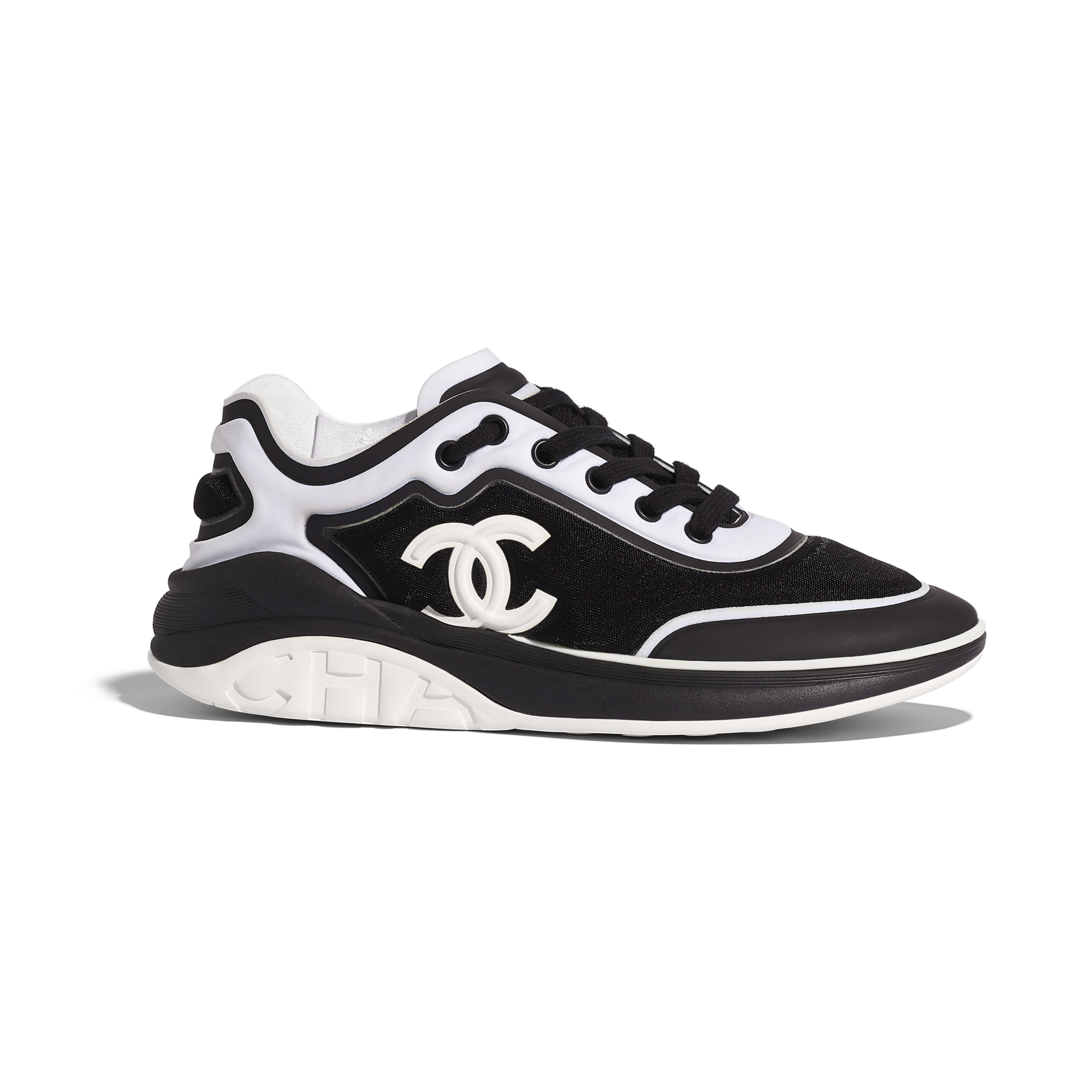 Sneakers - Black & White - Mesh & Lycra - Default view - see full sized version