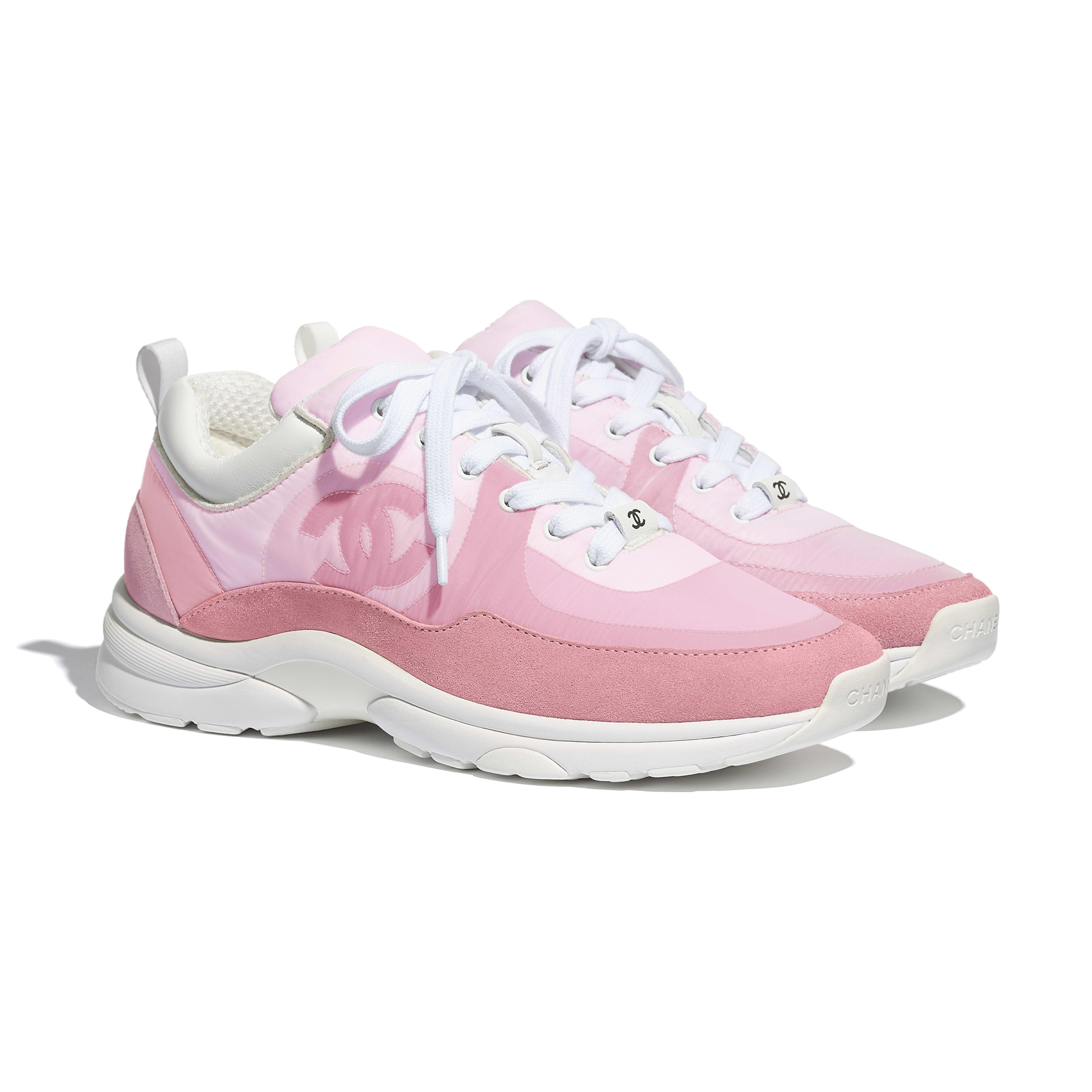 Suede Calfskin \u0026 Nylon Pale Pink