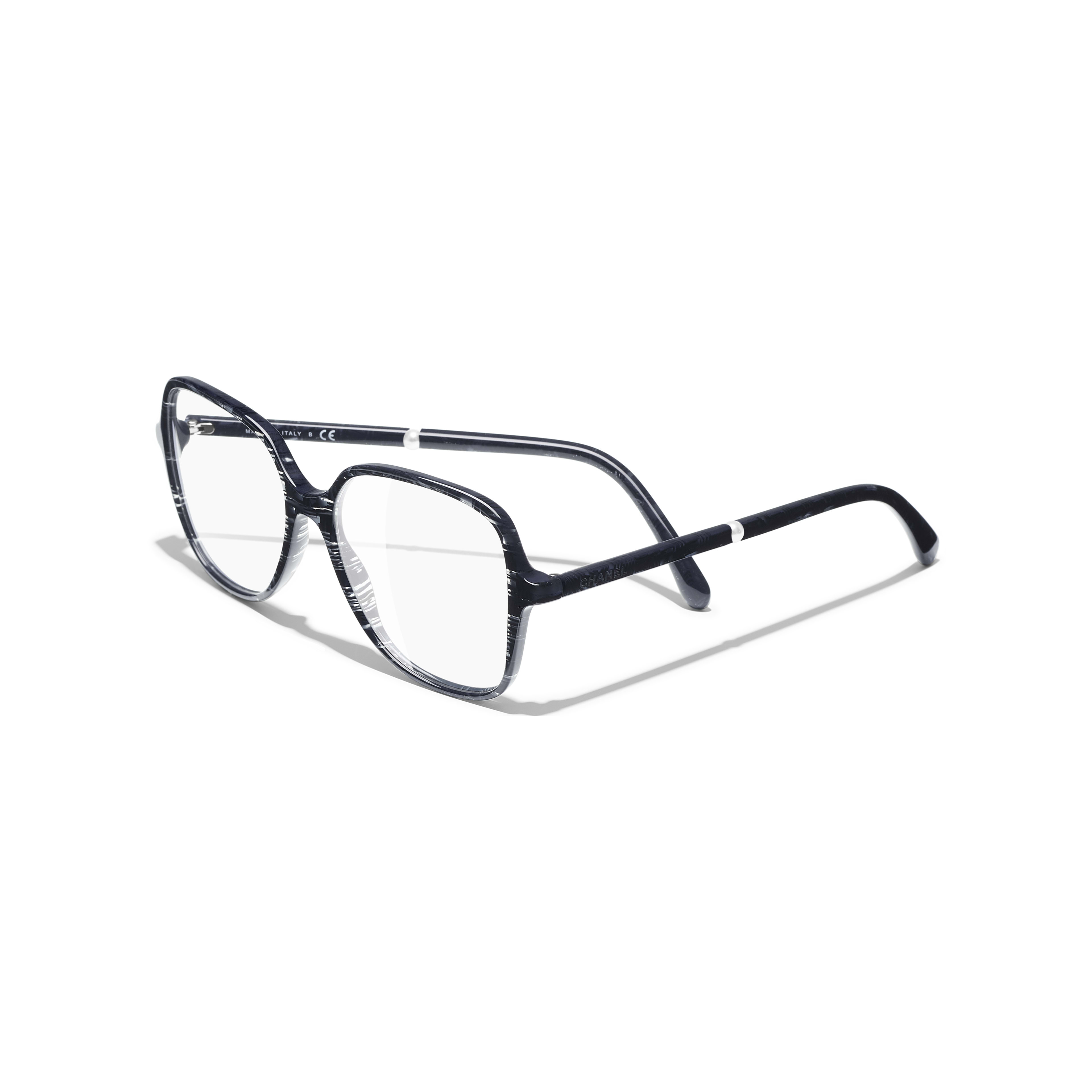 Square Eyeglasses - Glittered Dark Blue - Acetate & Imitation Pearls - Extra view - see full sized version