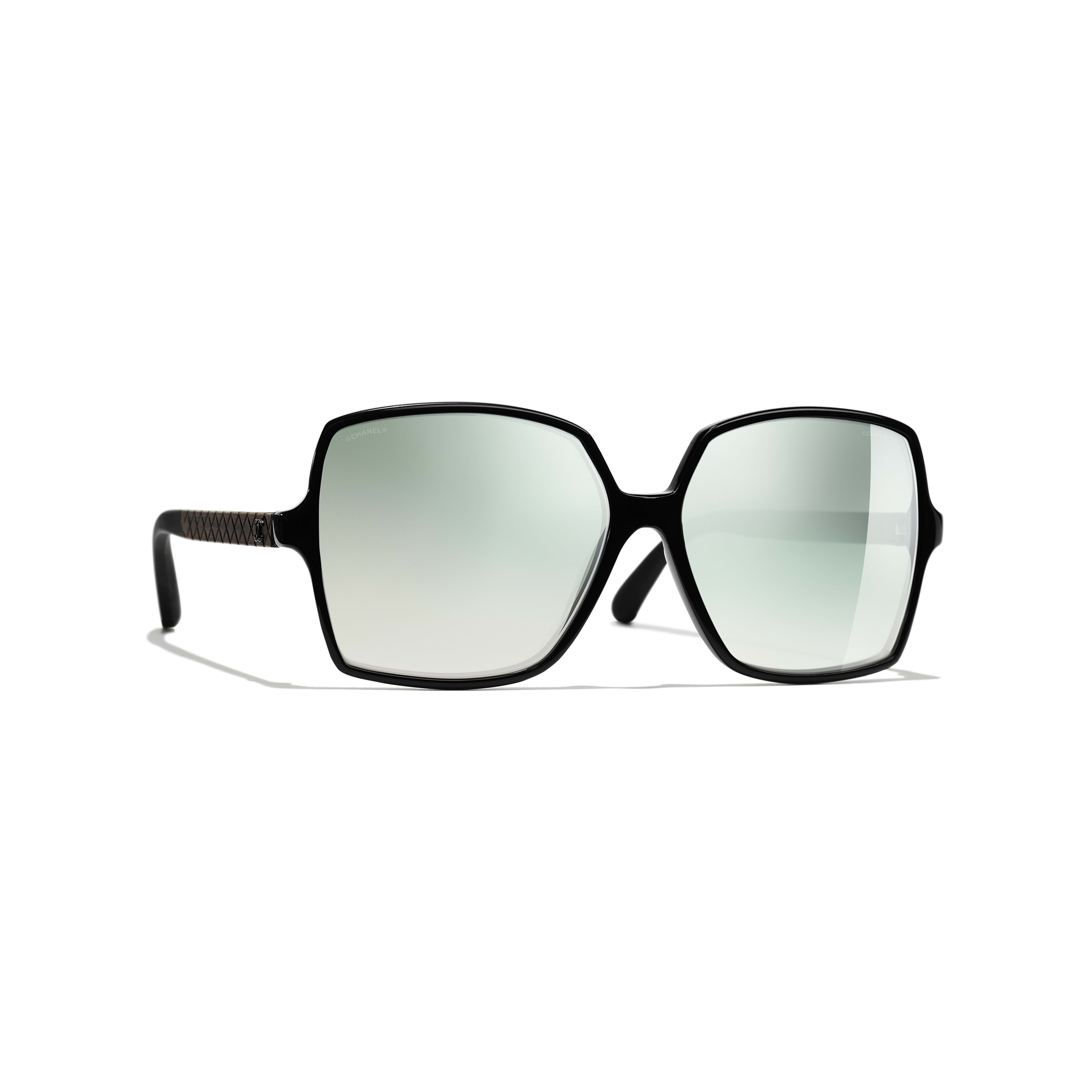Square Sunglasses - Black - Acetate, Wood & Rubber - Default view - see full sized version