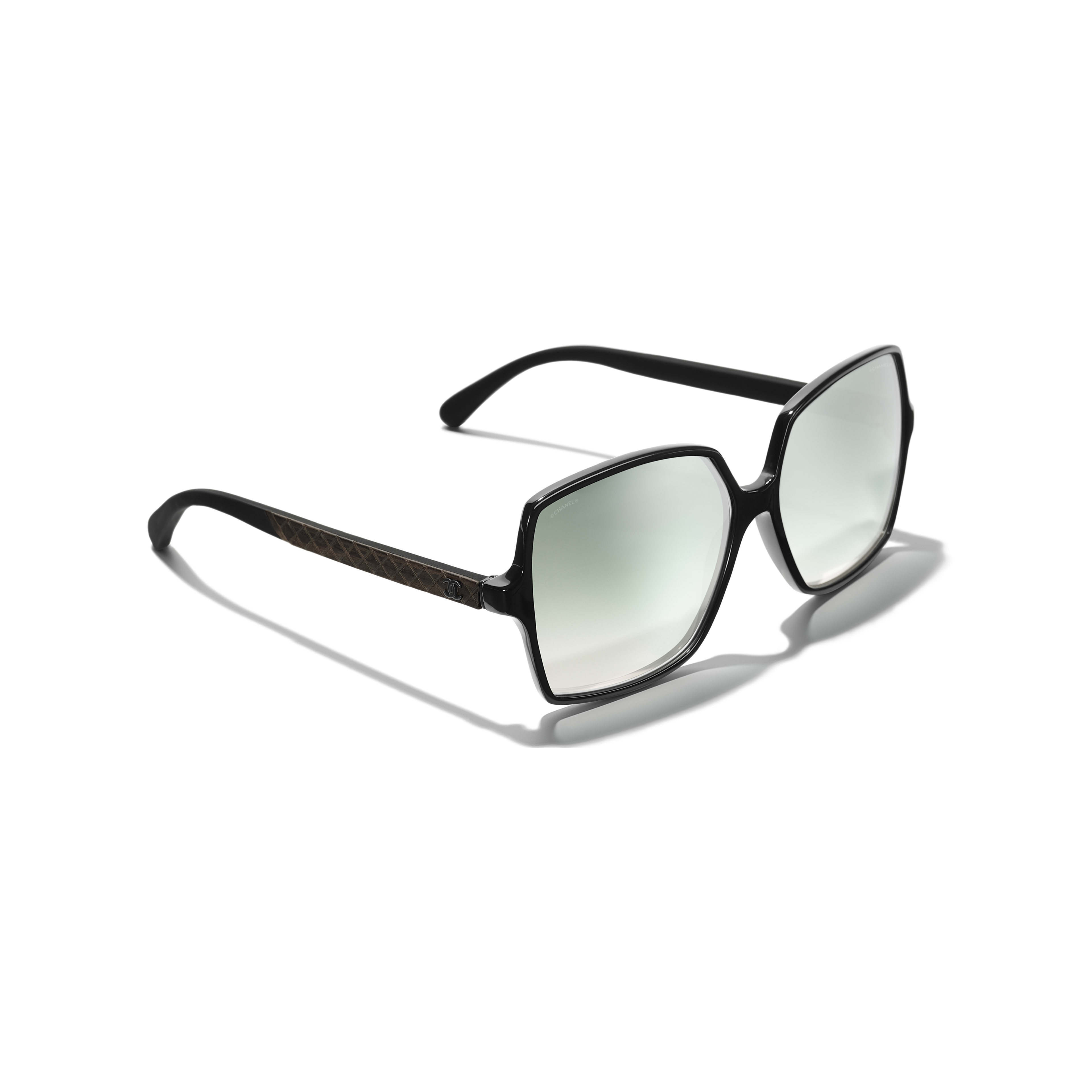 Square Sunglasses - Black - Acetate, Wood & Rubber - Extra view - see full sized version