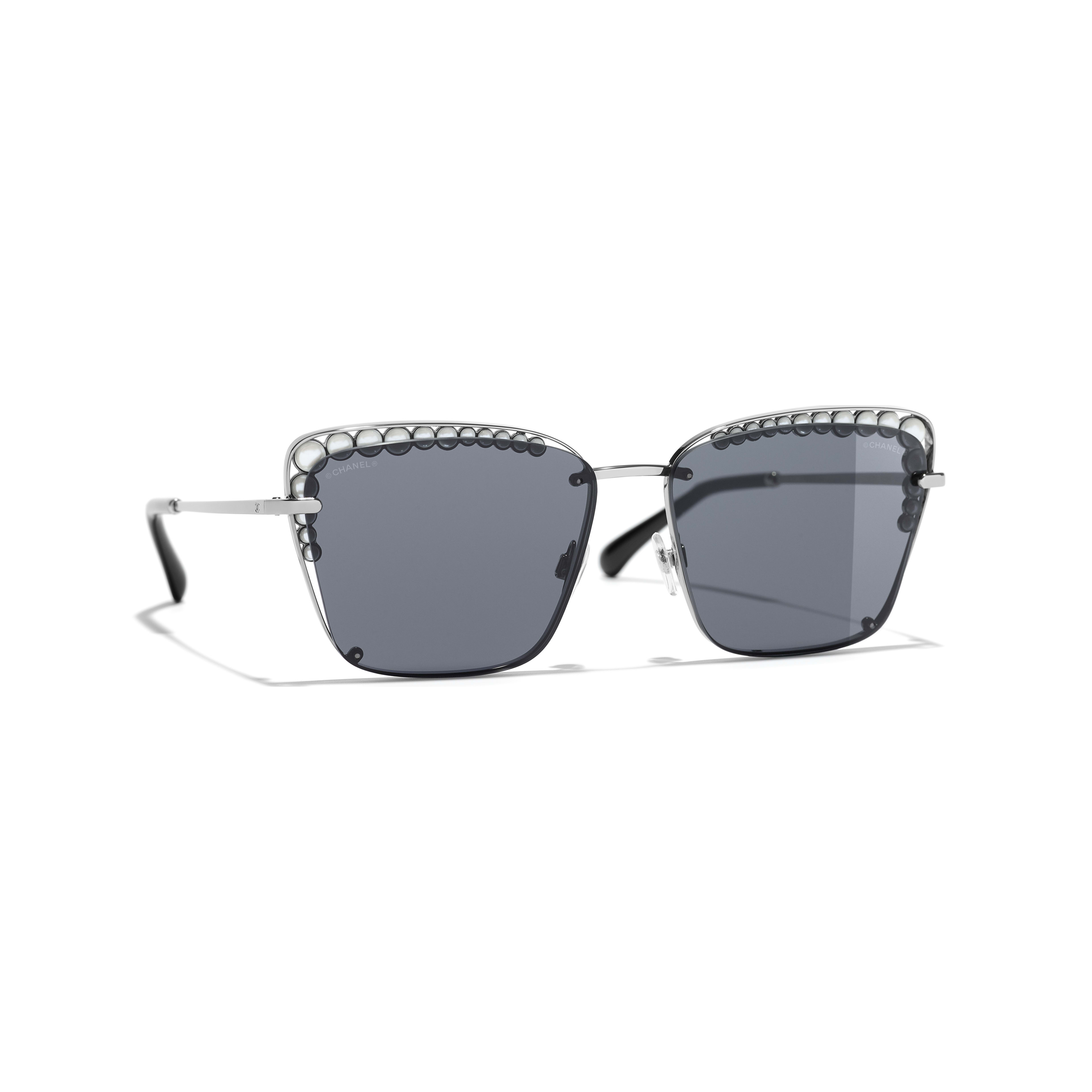 Square Sunglasses - Dark Silver - Metal & Imitation Pearls - Default view - see full sized version