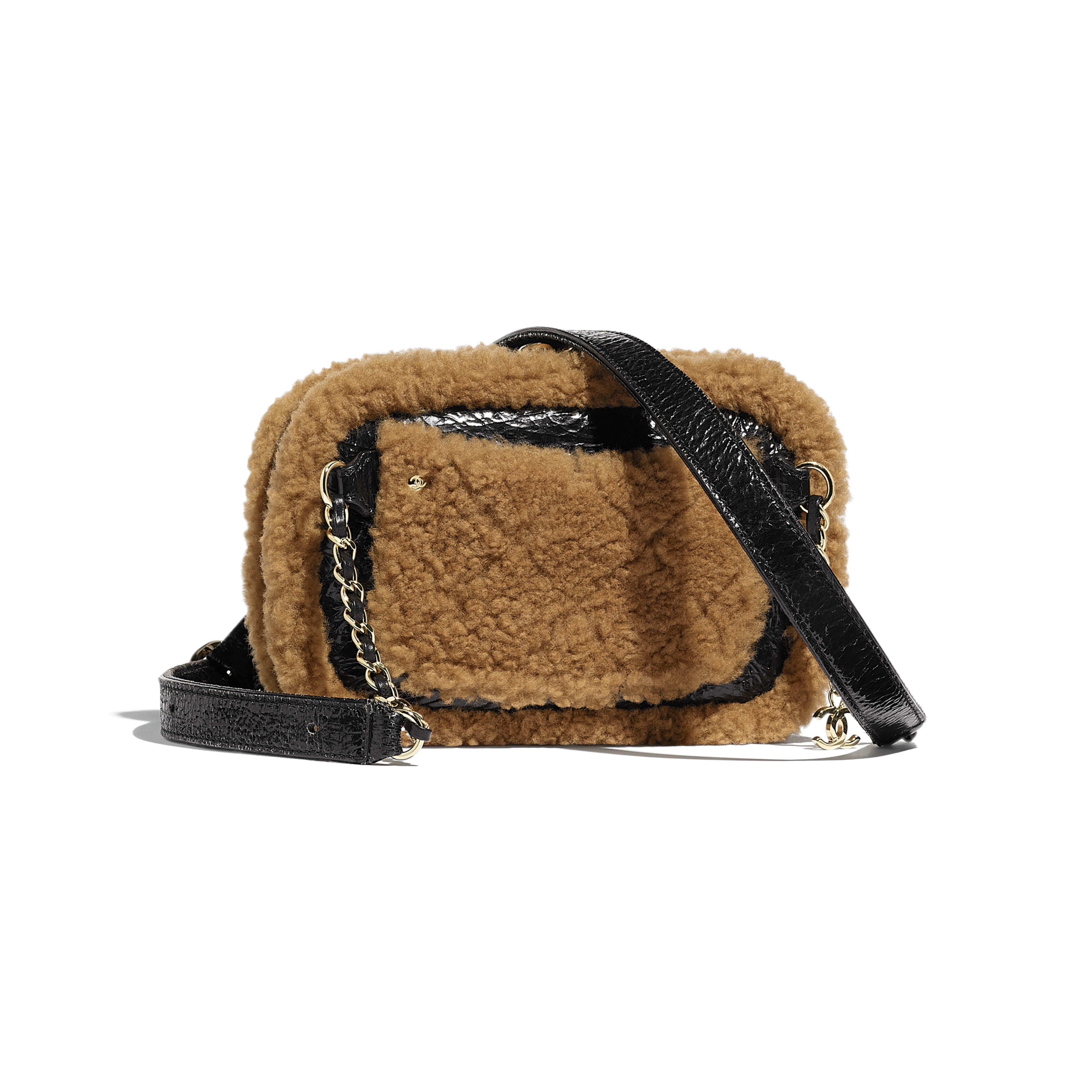 Waist Bag - Black & Brown - Shiny Crumpled Sheepskin, Shearling Sheepskin & Gold-Tone Metal - Alternative view - see full sized version